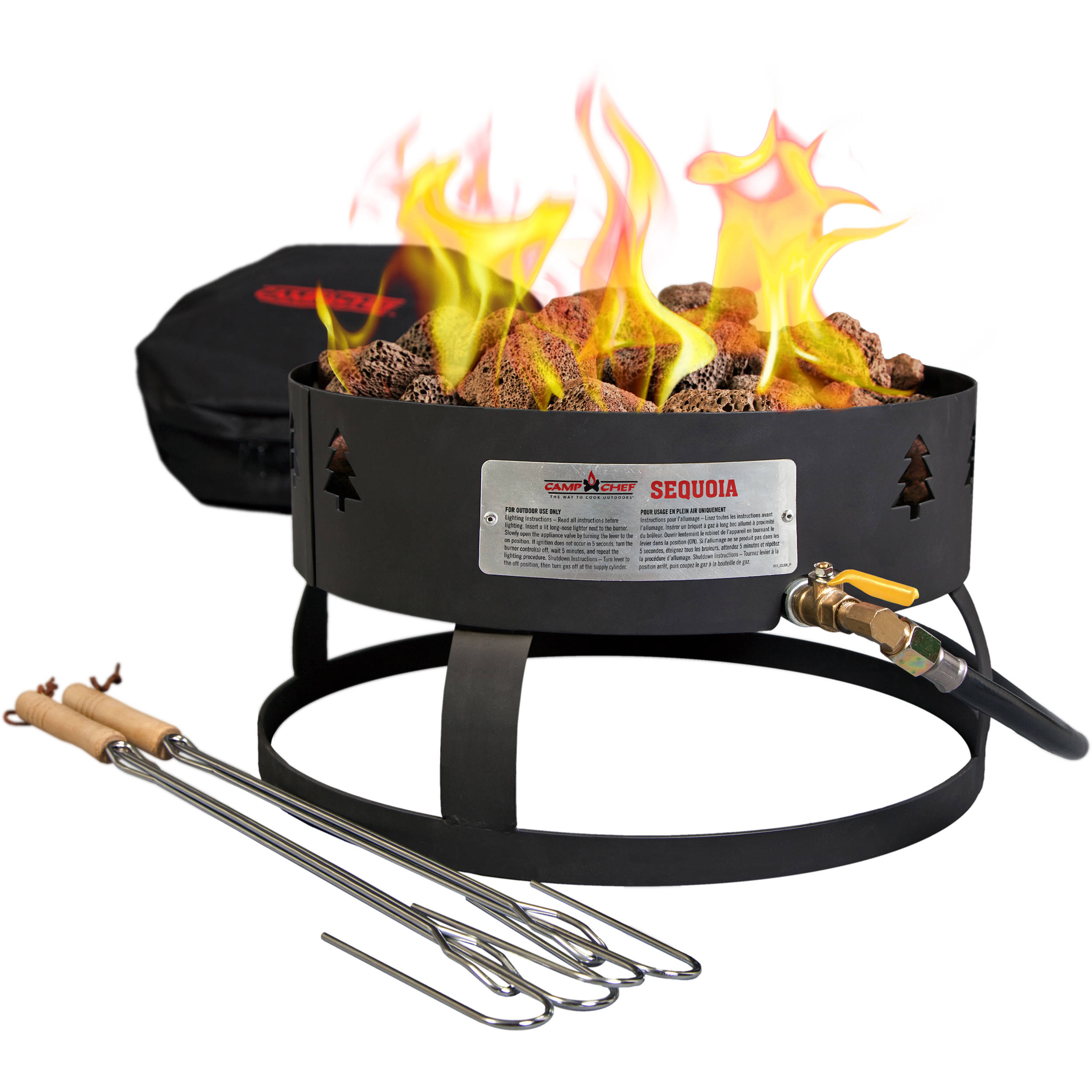 camp chef sequoia propane fire pit with lava rocks u0026 gclogm