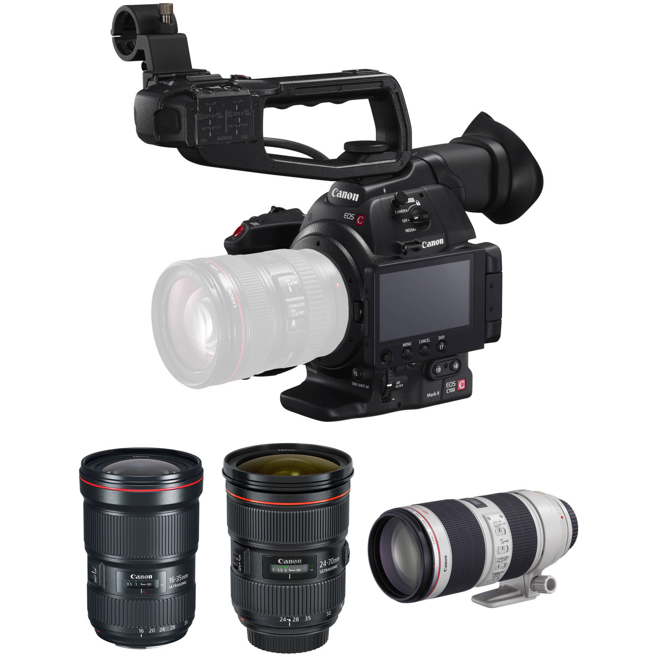 Canon EOS C100 Mark II Cinema EOS Camera with Triple Lens Kit