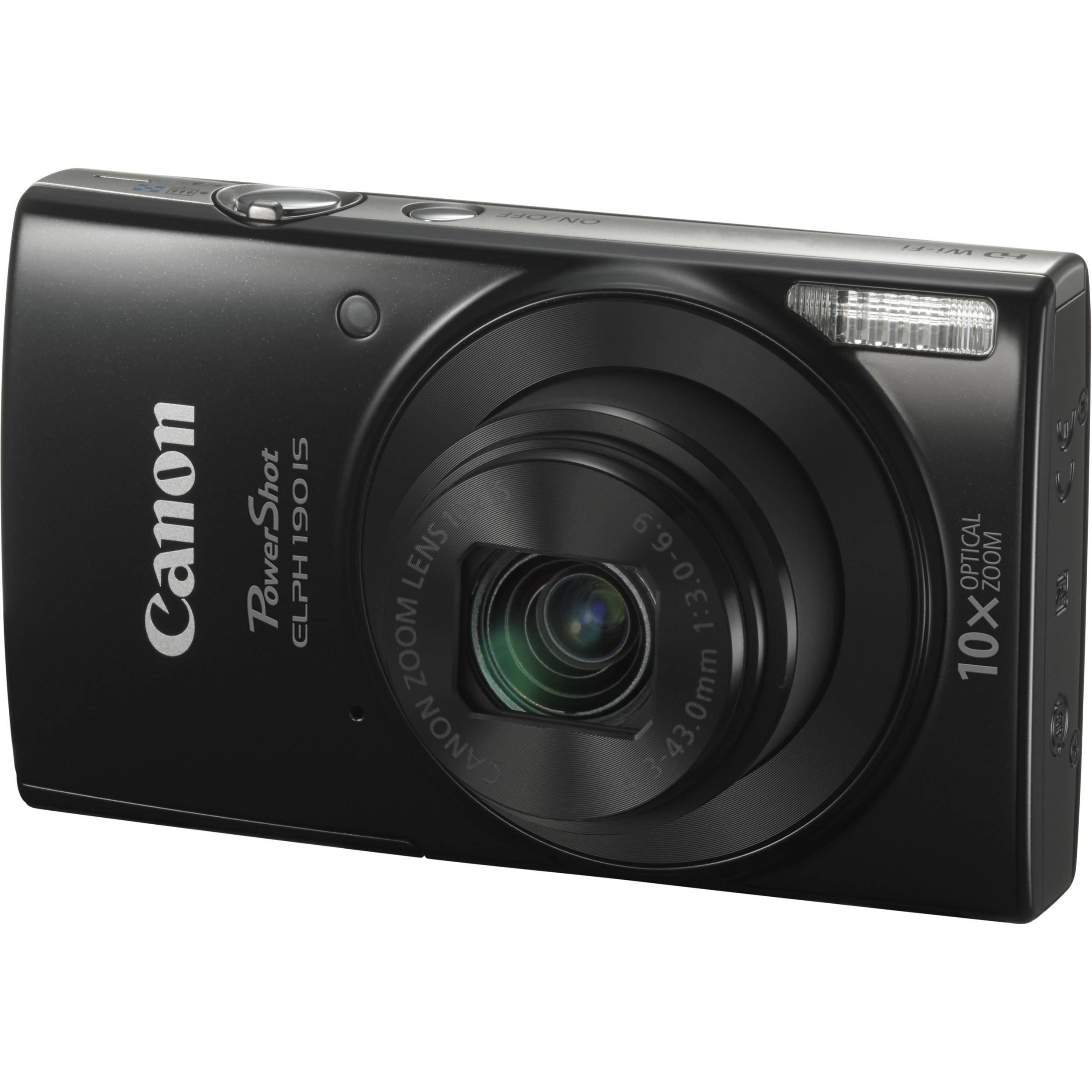 Canon PowerShot ELPH 190 IS Digital Camera (Black) 1084C001 B&H