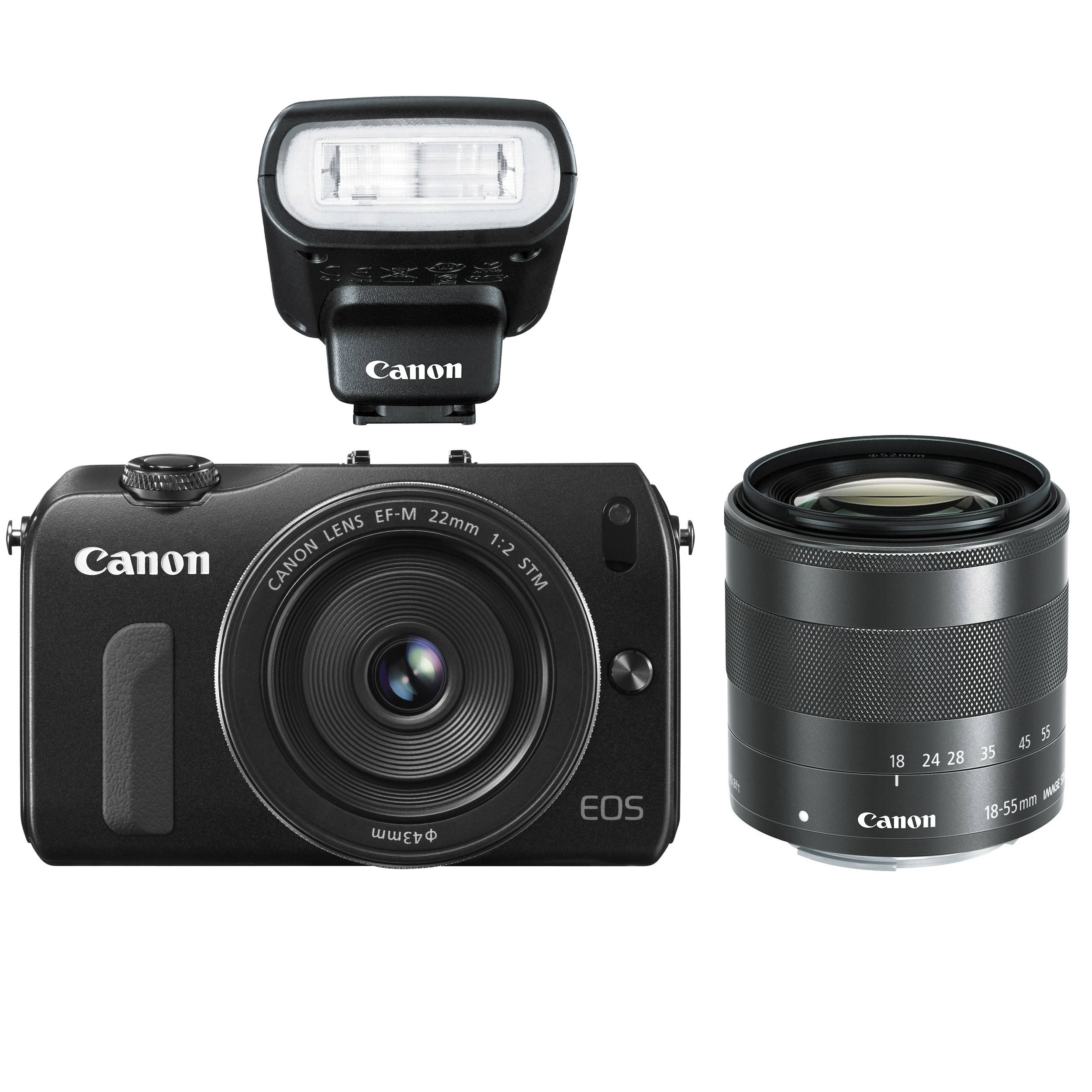 Canon Eos M Mirrorless Digital Camera With 22mm And 6609b027 Bh Ef F 20 Stm 18 55mm Lenses Flash
