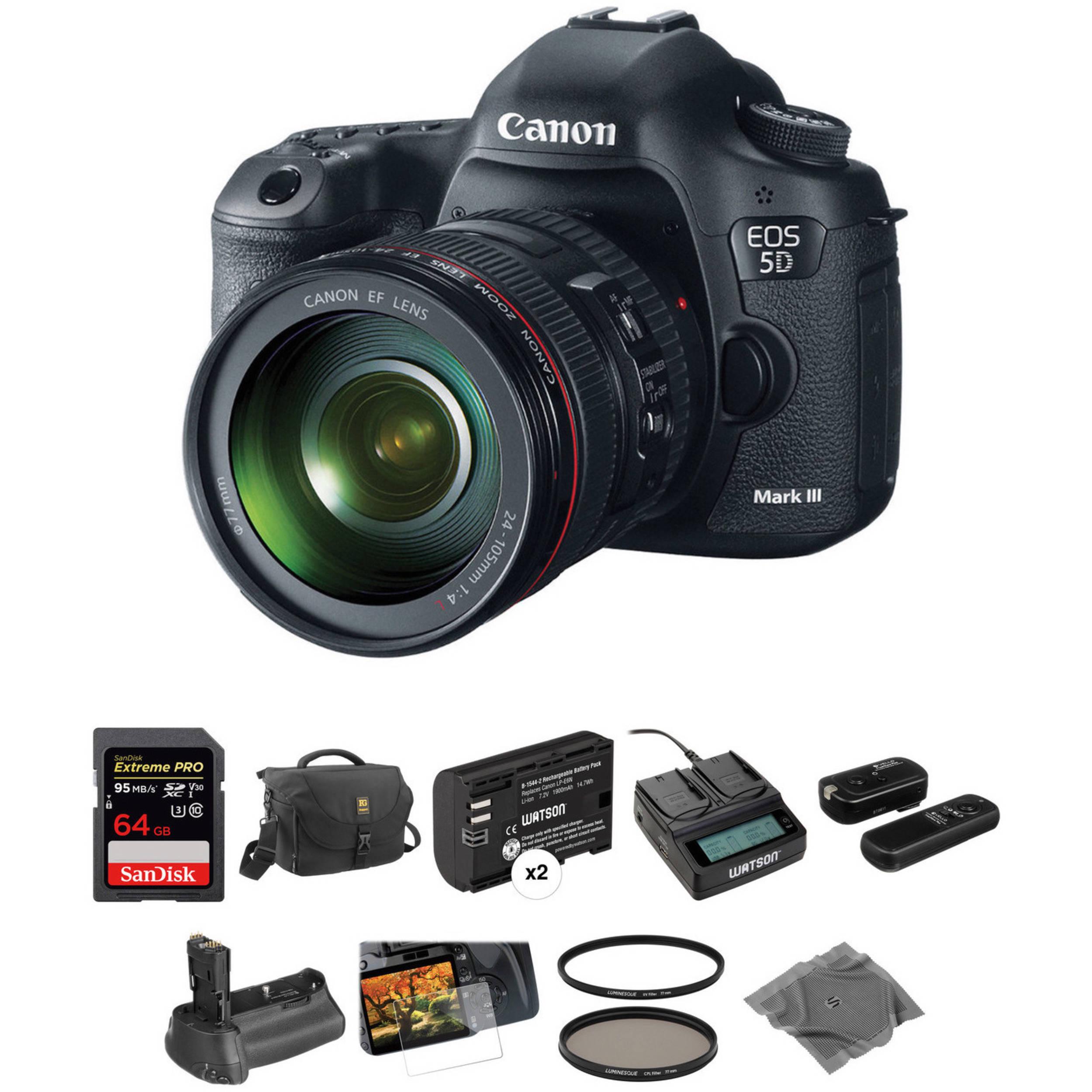 canon eos 5d mark iii dslr camera with 24 105mm f 4l lens b h. Black Bedroom Furniture Sets. Home Design Ideas