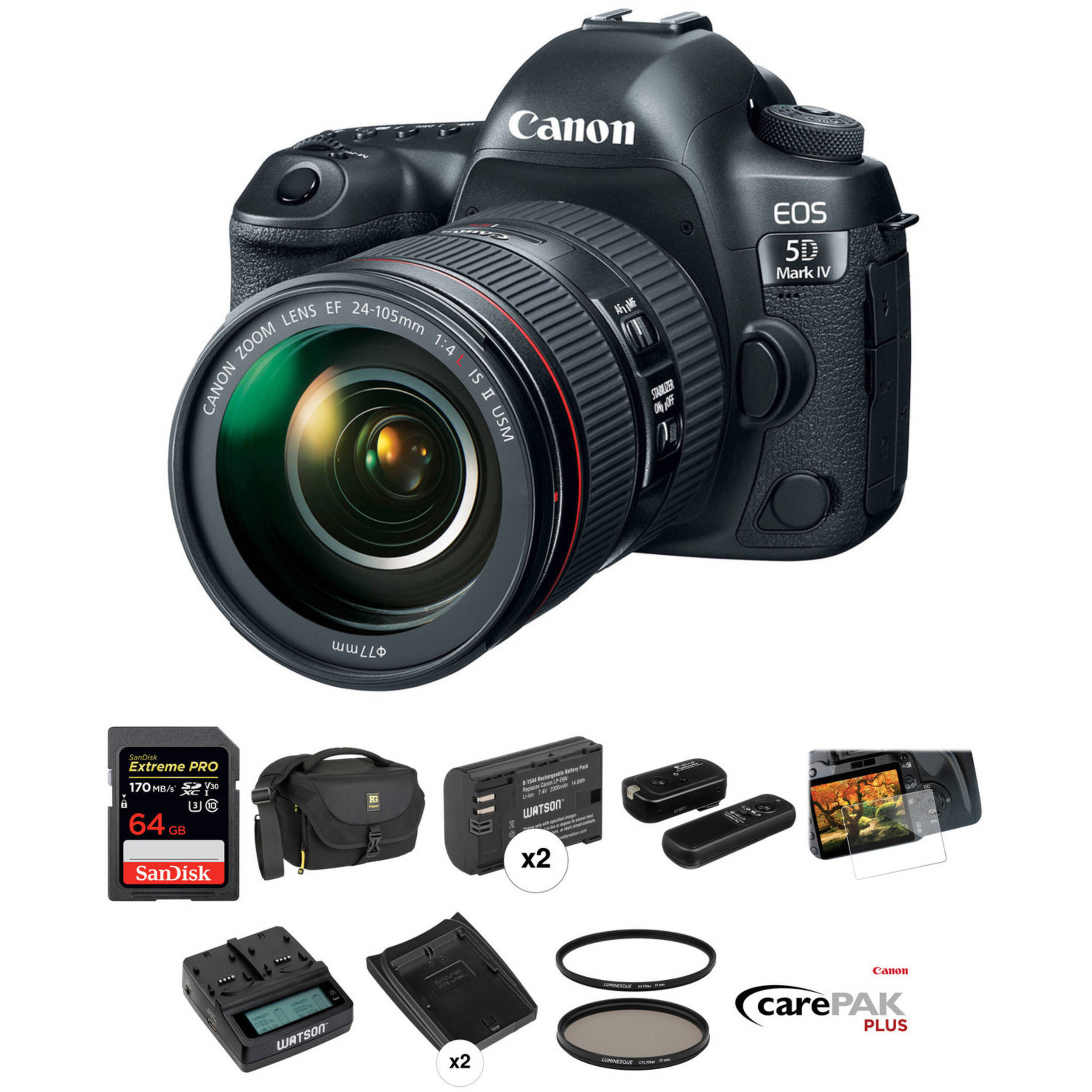 7c51be8c18c792 Canon EOS 5D Mark IV DSLR Camera with 24-105mm f 4L II Lens Deluxe Kit
