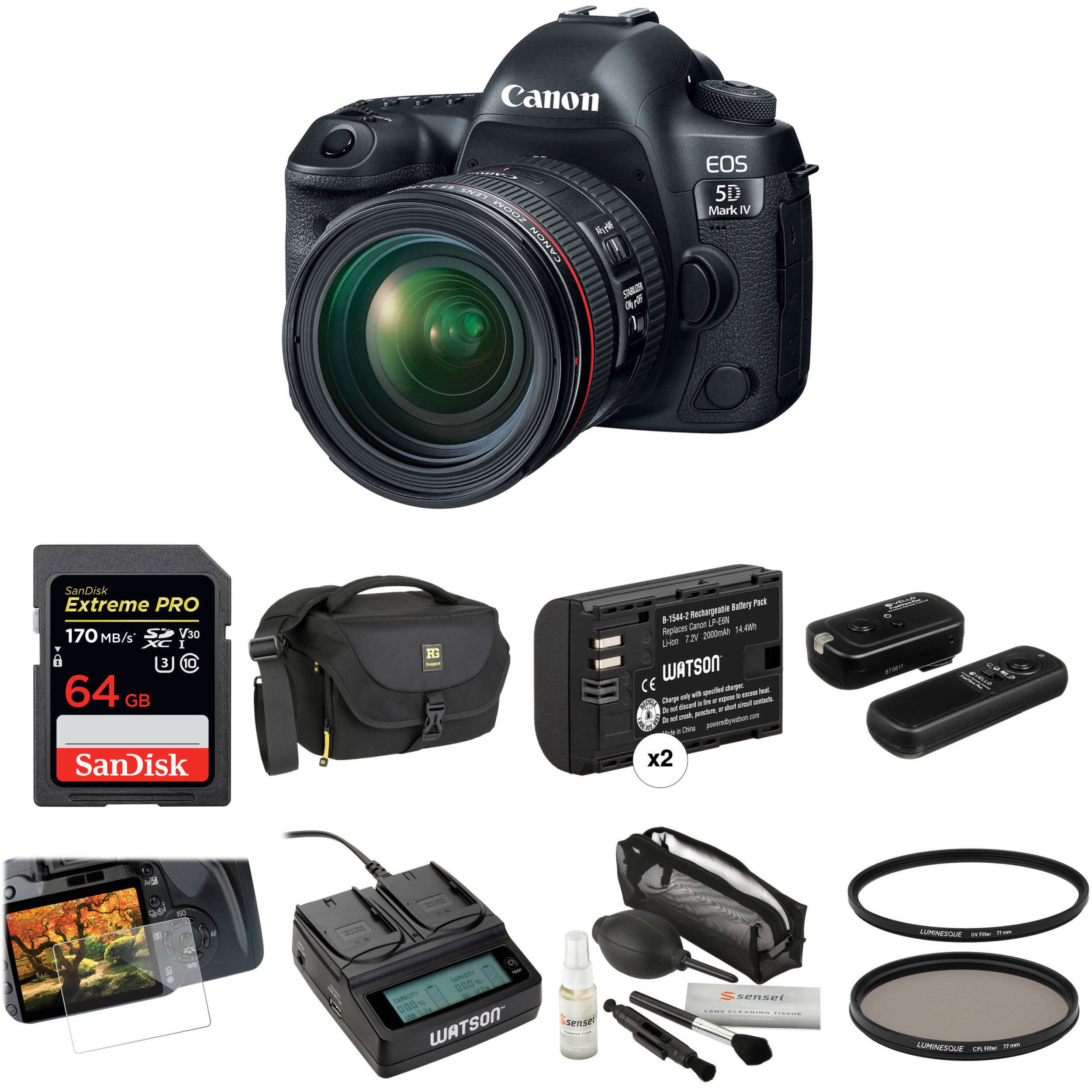 Canon EOS 5D Mark IV DSLR Camera with 24-70mm f/4L Lens Deluxe