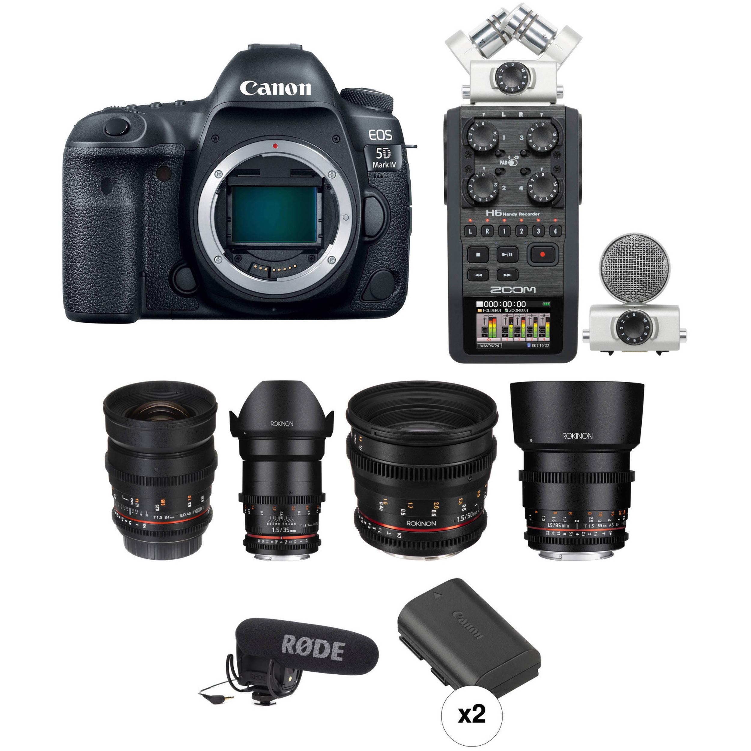 EOS 5D Mark IV DSLR Camera with Rokinon Cine Lenses Bundle