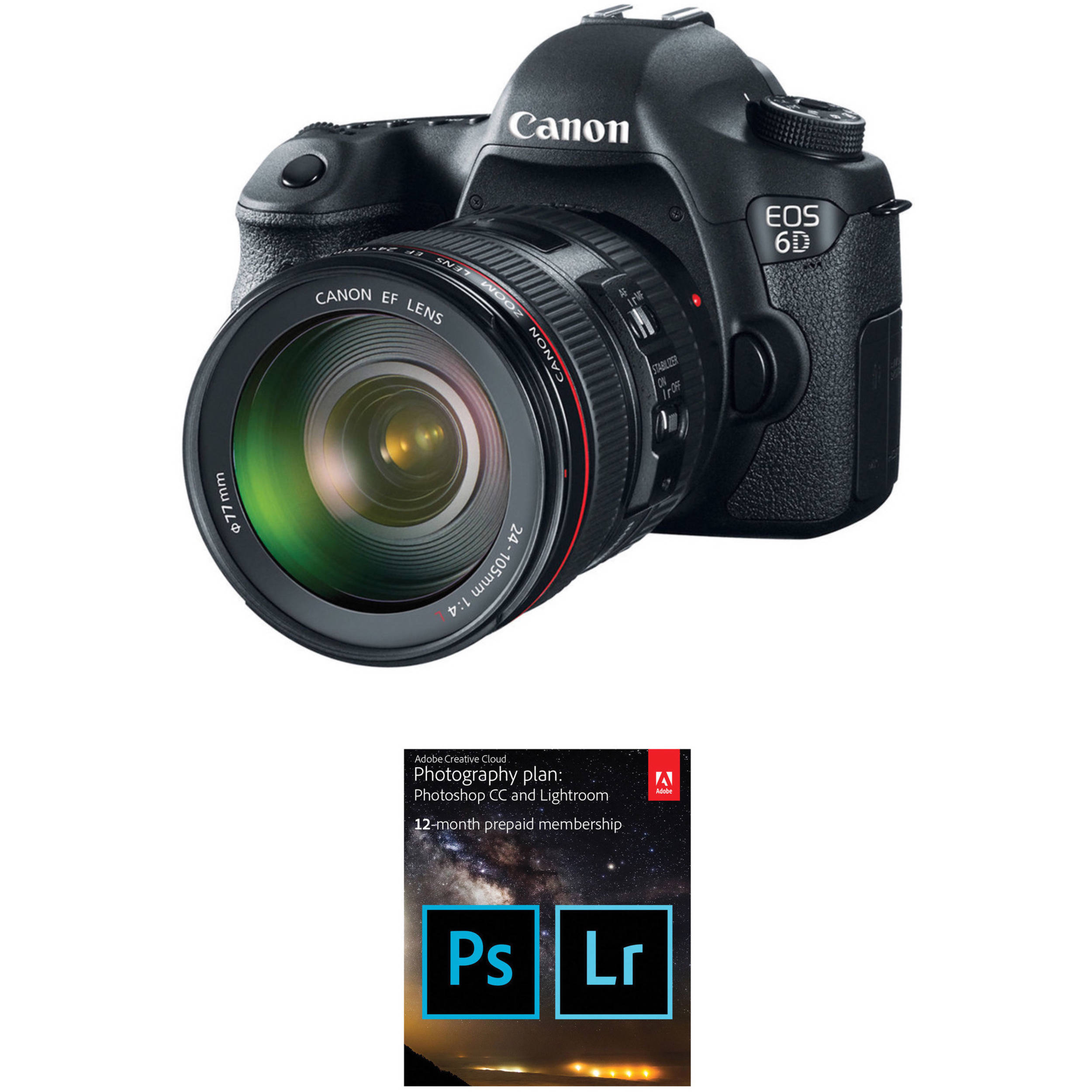 Canon EOS 6D DSLR Camera with 24-105mm f/4L Lens and Adobe B&H