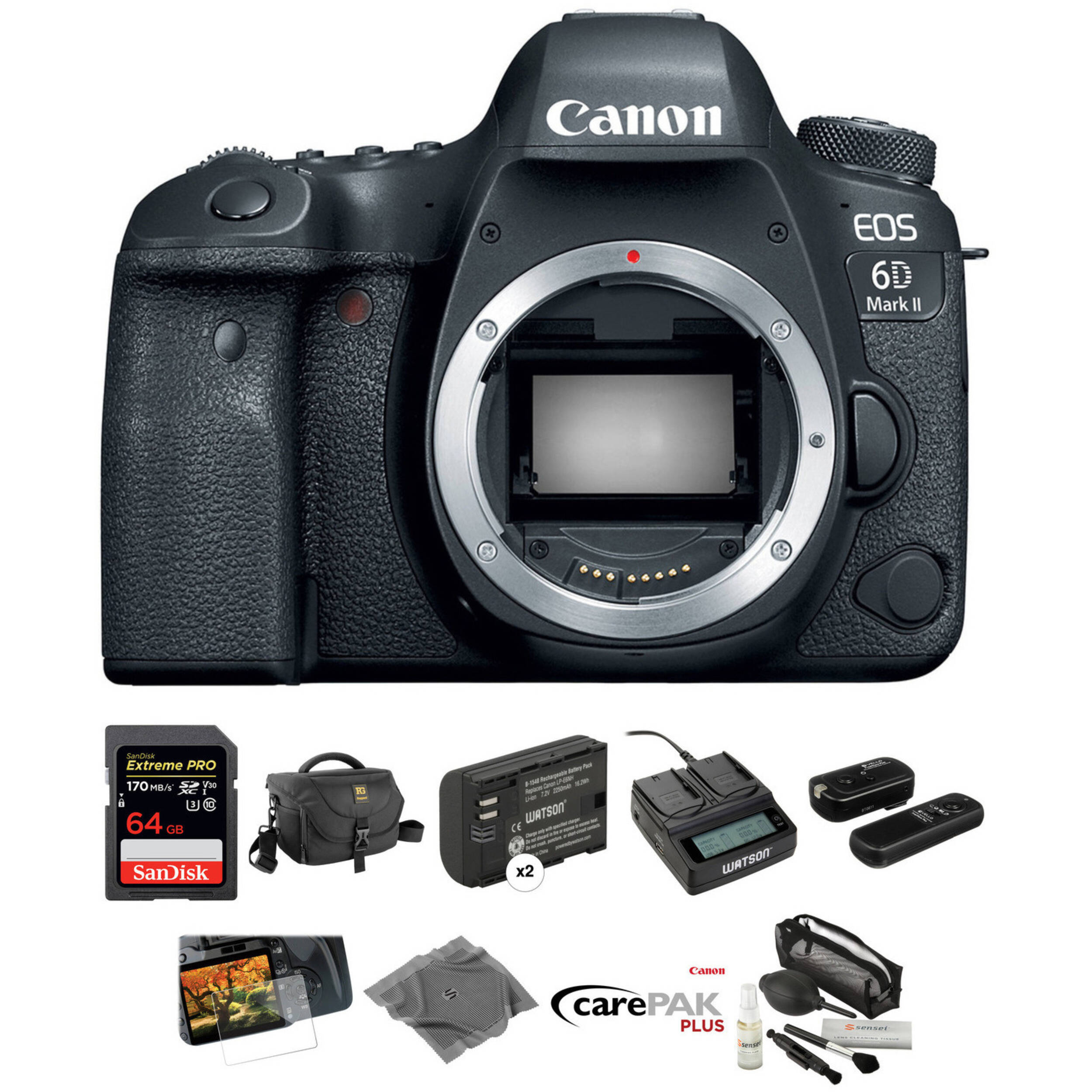 Canon Eos 6d Mark Ii Dslr Camera Body Deluxe Kit B Amp H Photo