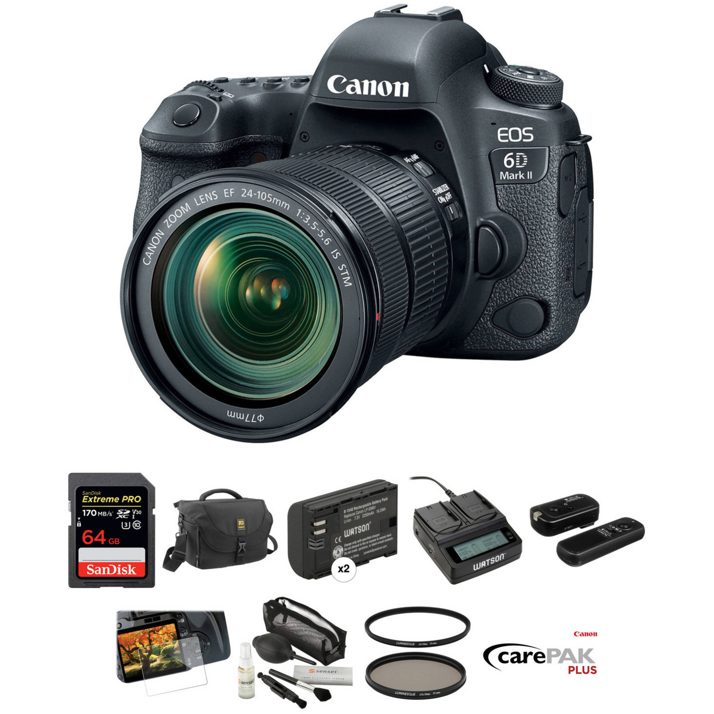 Canon EOS 6D Mark II DSLR Camera with 24-105mm f/3 5-5 6 Lens Deluxe Kit