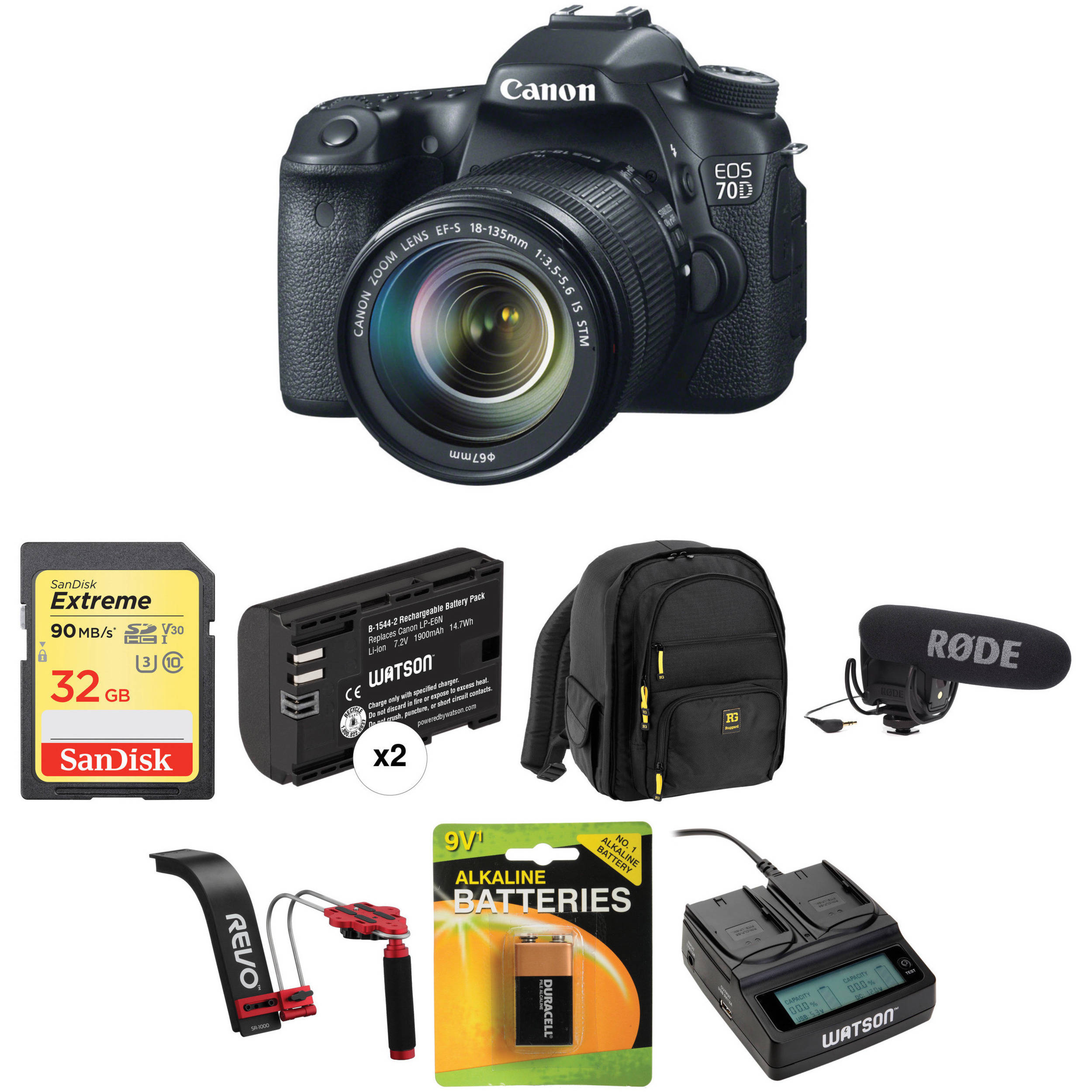 Canon EOS 70D DSLR Camera with 18-135mm Lens Video Kit B&H Photo