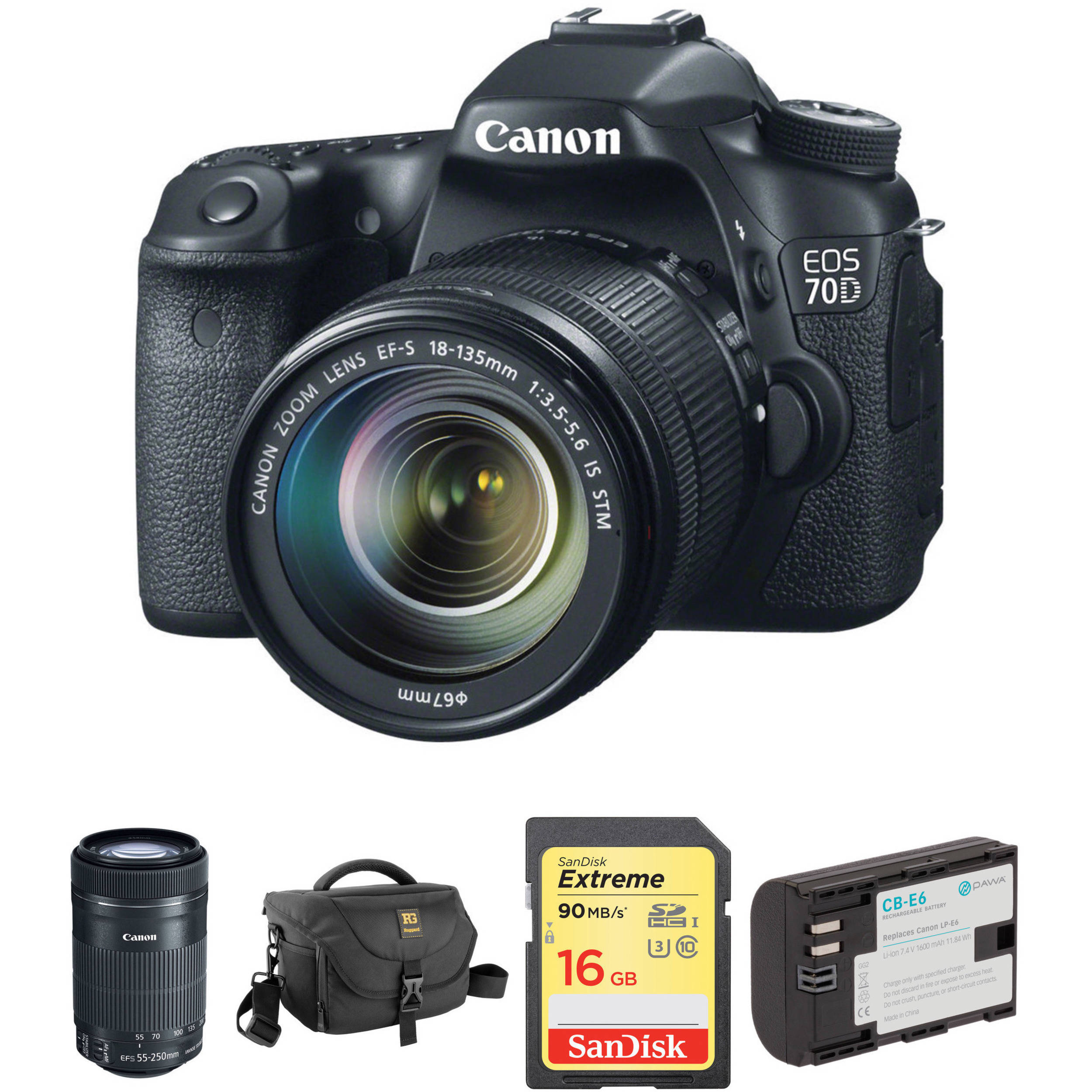 Canon EOS 70D DSLR Camera with 18135mm and 55250mm Lenses Kit