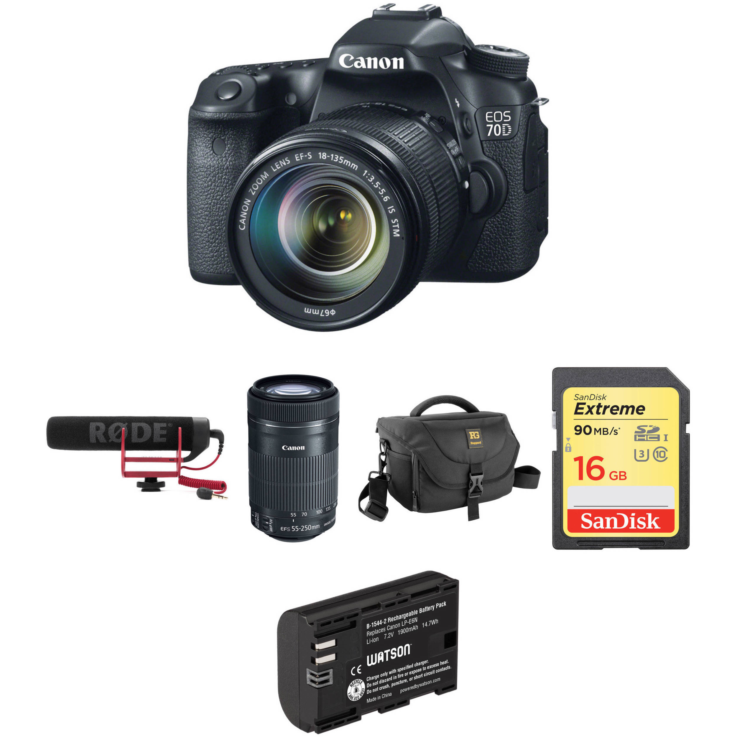 Canon EOS 70D DSLR Camera with 18135mm Lens Video Creator Kit