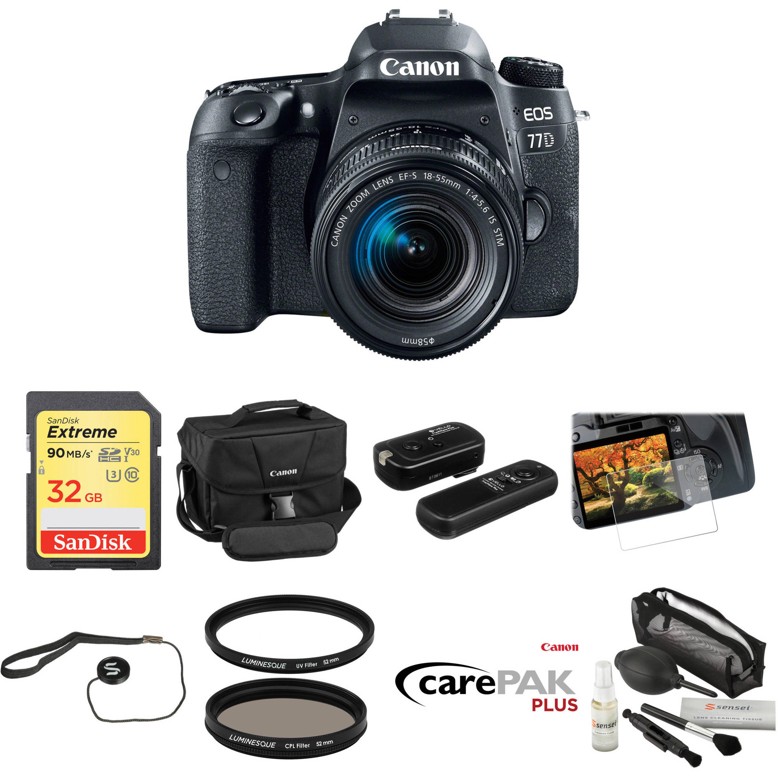 ba0fa18cef54 Canon EOS 77D DSLR Camera with 18-55mm Lens Deluxe Kit B H Photo