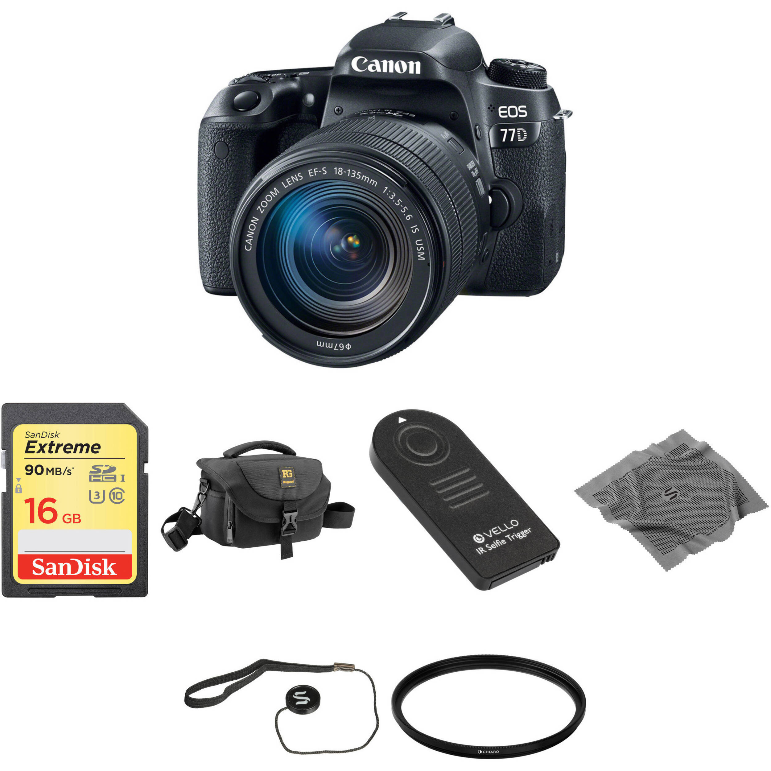a261ca4c10047 Canon EOS 77D DSLR Camera with 18-135mm Lens Basic Kit B H Photo