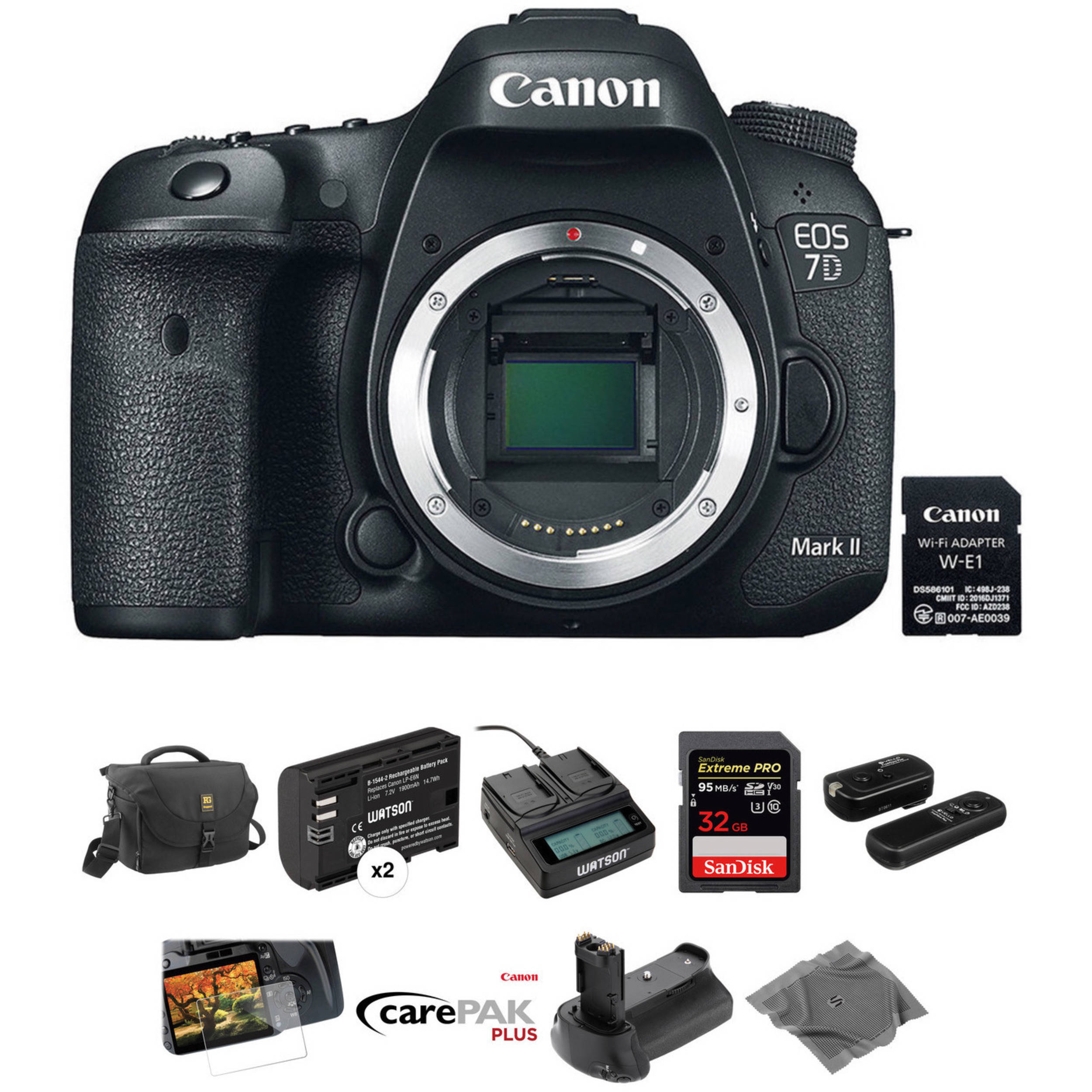 canon eos 7d mark ii dslr camera body with deluxe photo. Black Bedroom Furniture Sets. Home Design Ideas