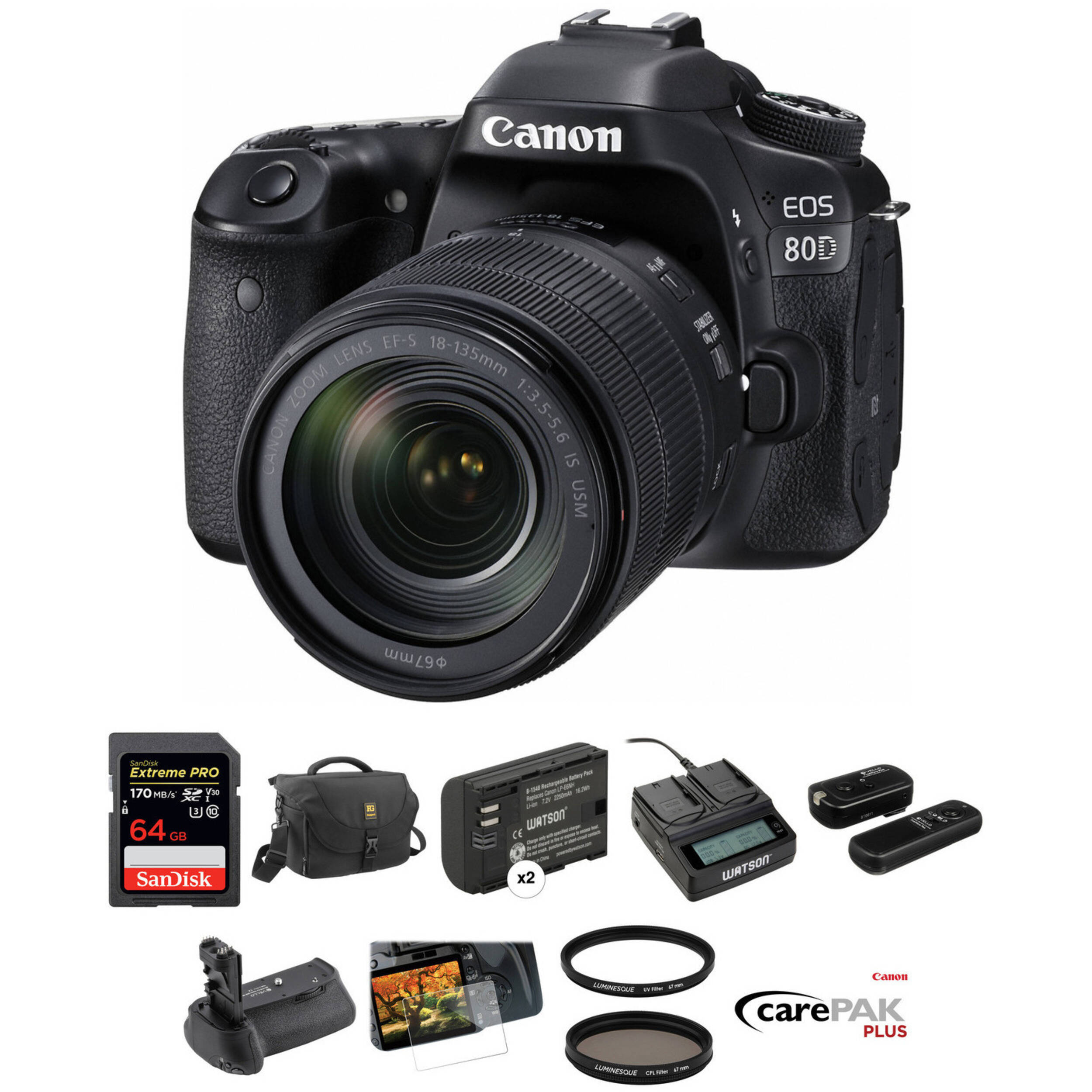 2a49396af891 Canon EOS 80D DSLR Camera with 18-135mm Lens Deluxe Kit B H