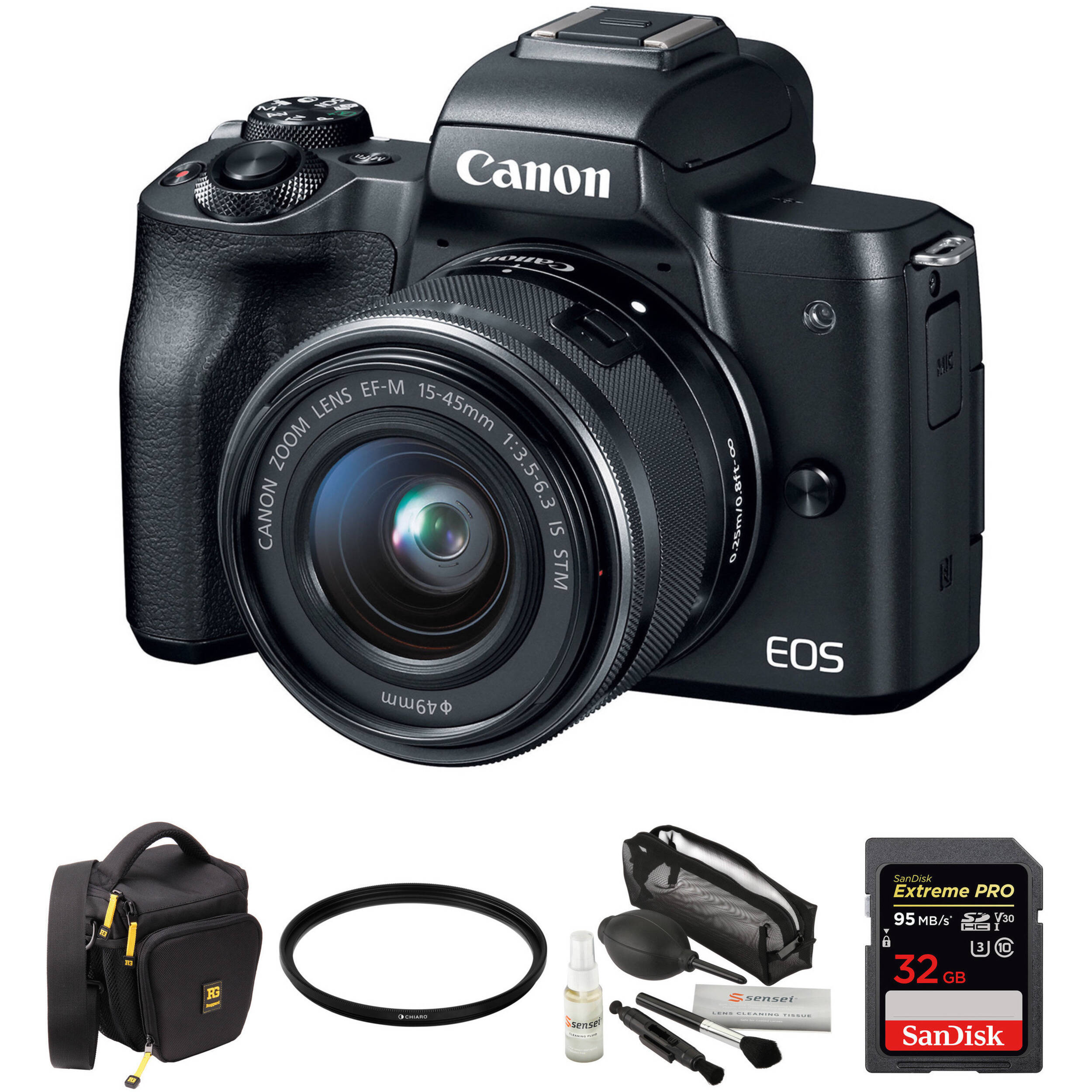 canon eos m50 mirrorless digital camera with 15 45mm lens and