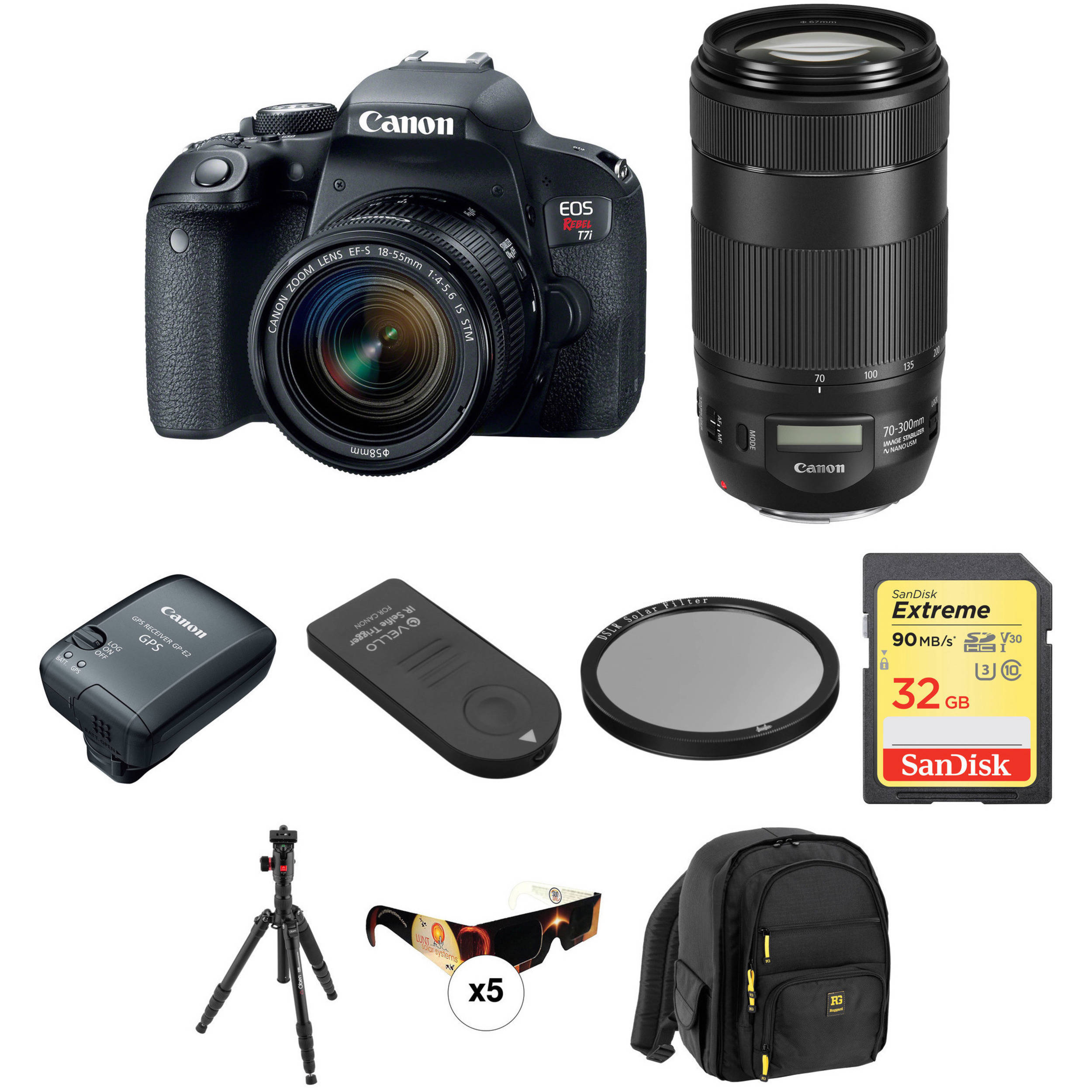 Canon Eos Rebel T7i Dslr Camera With 18 55mm And 70 300mm