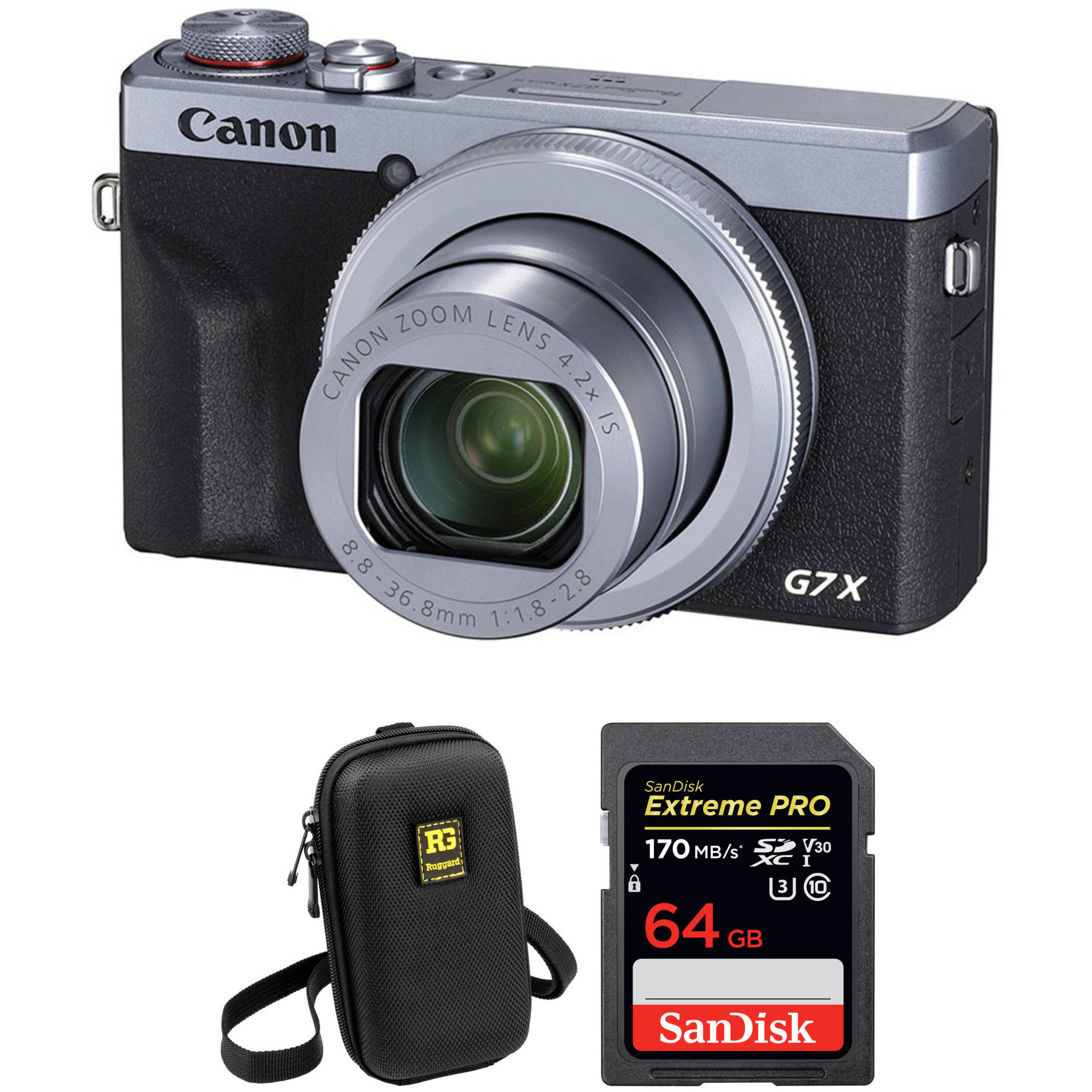 PowerShot G7 X Mark III Digital Camera Basic Kit (Silver)