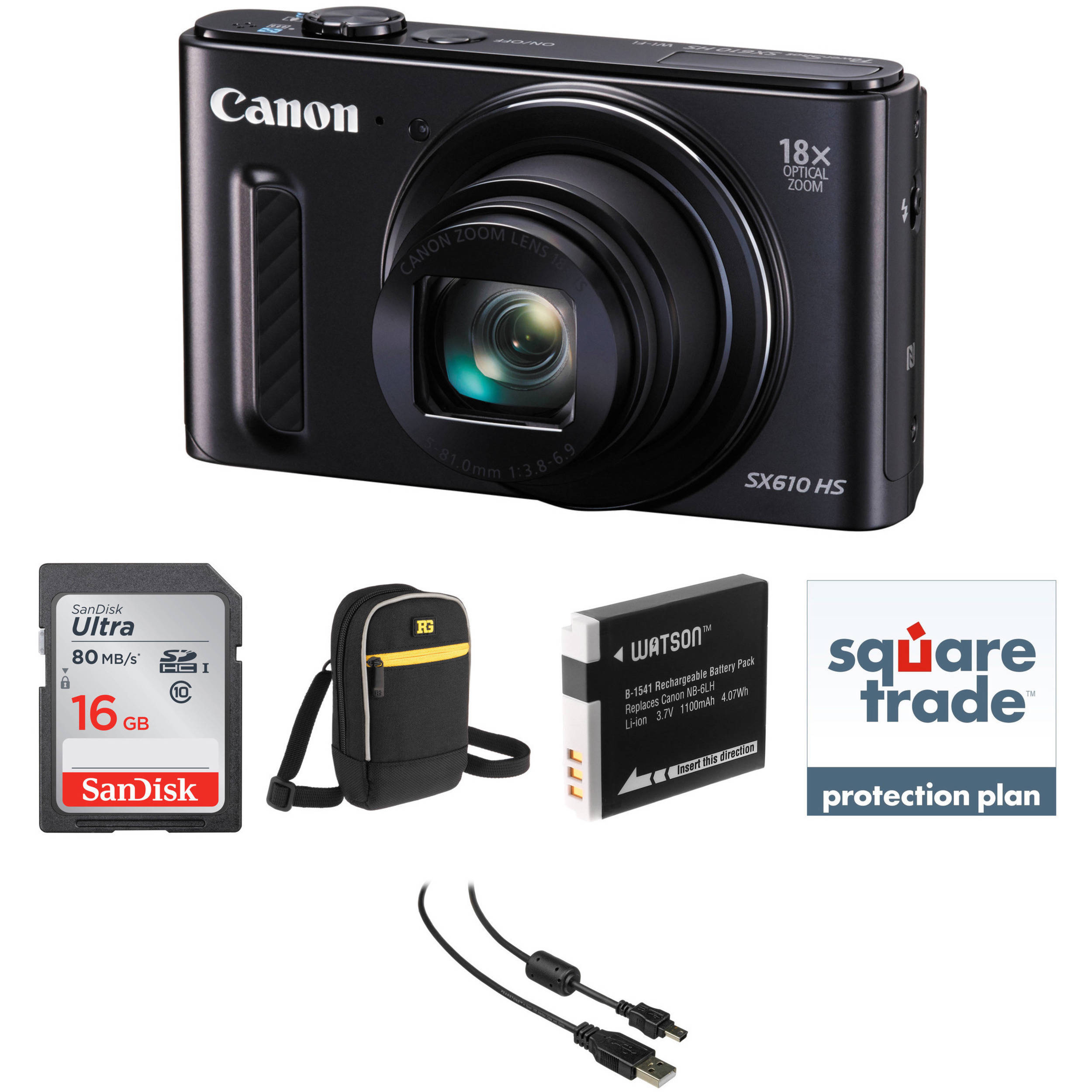 Canon PowerShot SX610 HS Digital Camera Deluxe Kit Black BH