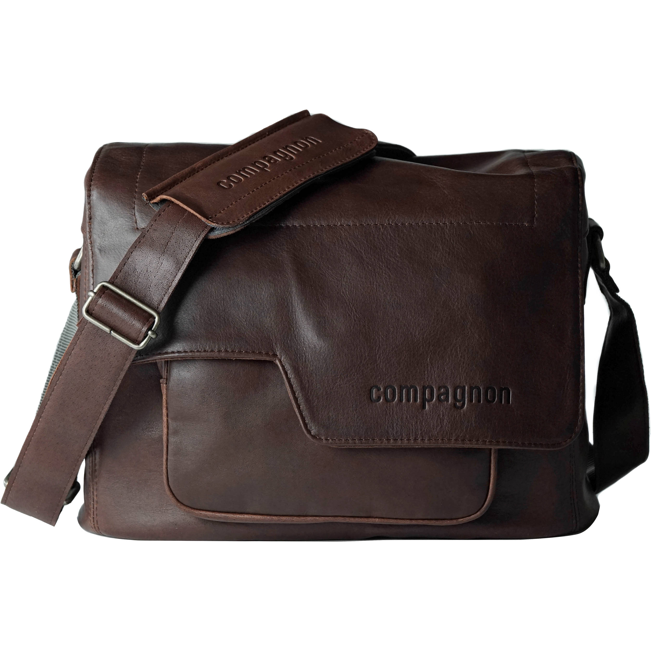 Compagnon The Medium Messenger Leather Camera Bag Dark