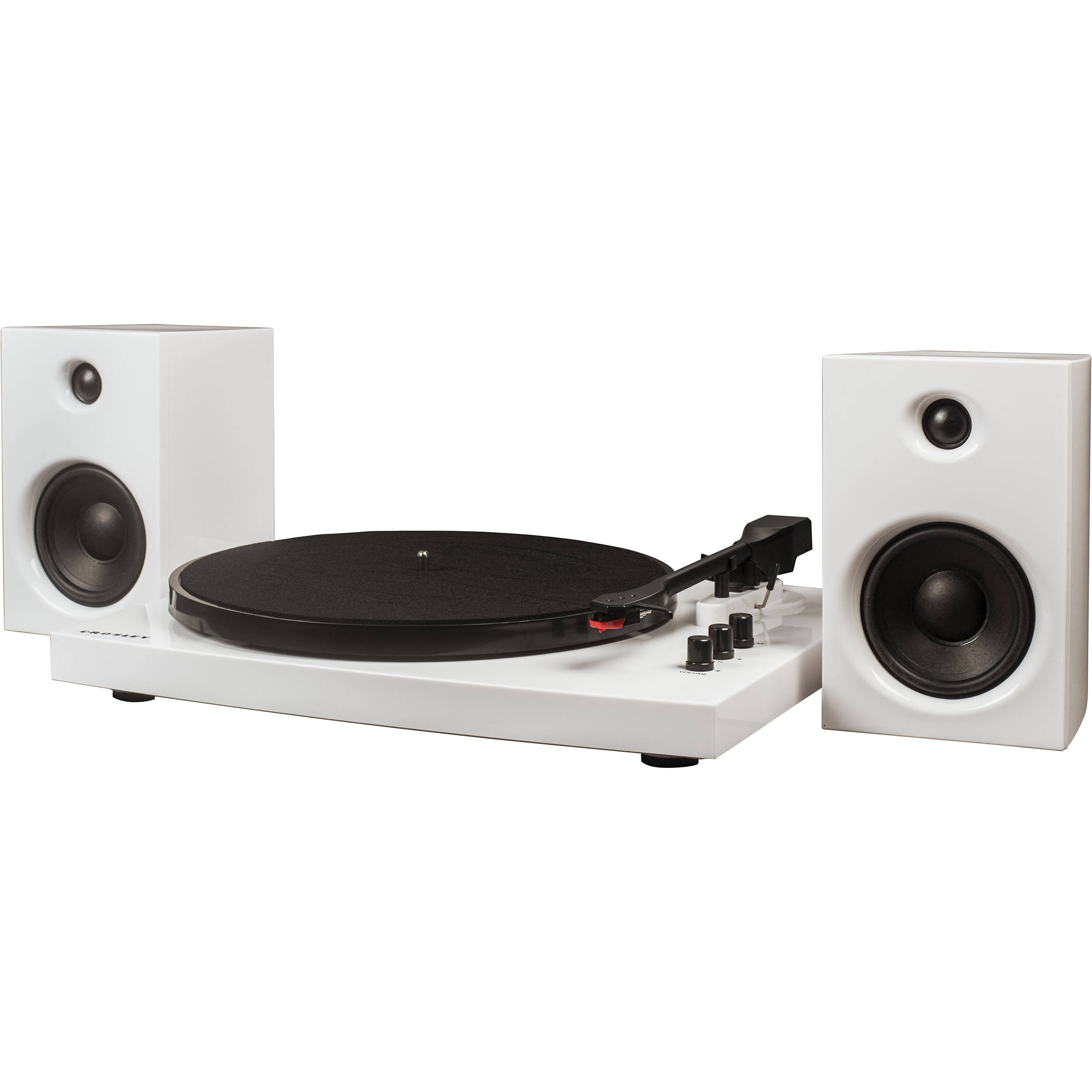 Crosley Radio T100a Stereo Turntable System With Speakers White