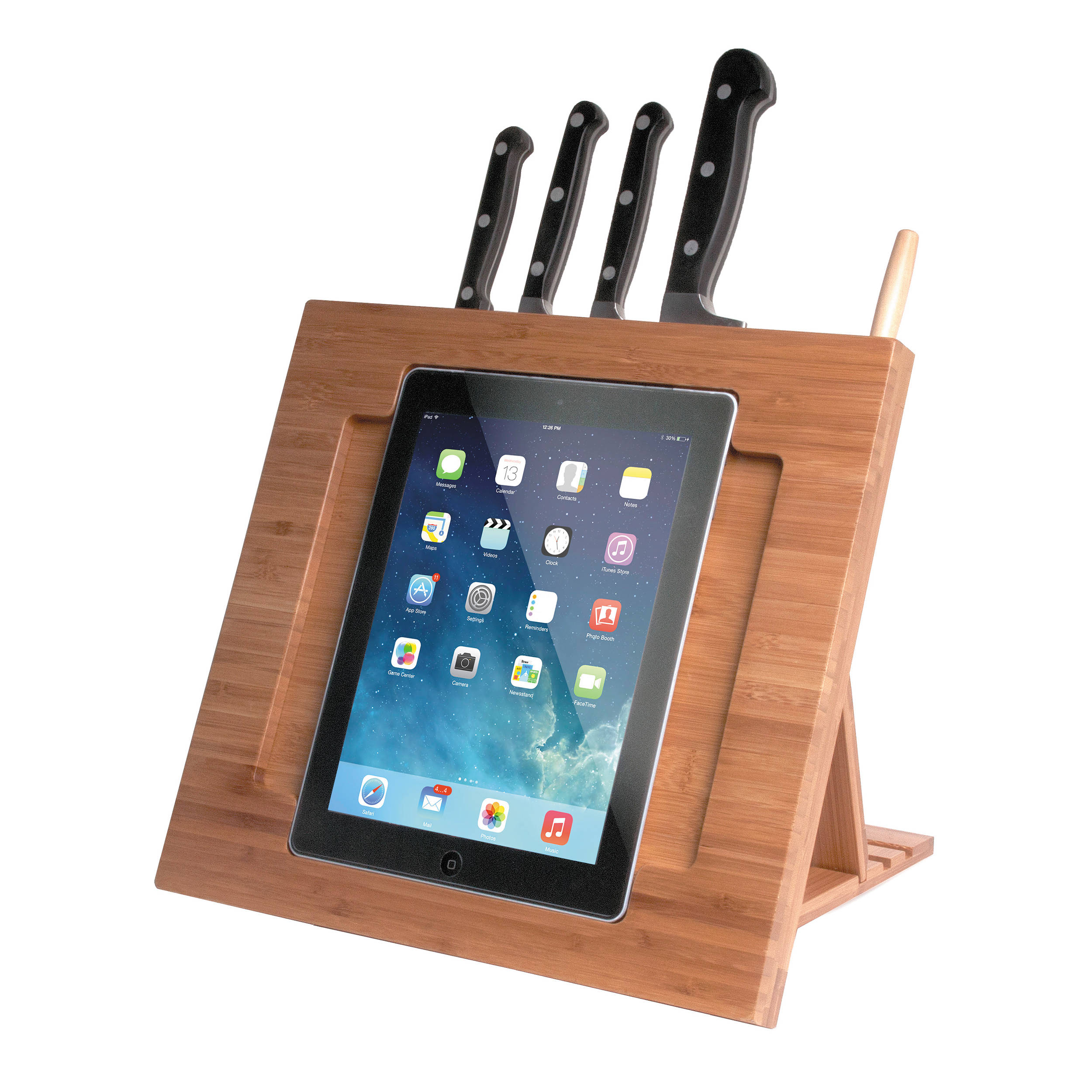 Cta Digital Bamboo Adjustable Kitchen Stand For Ipad Pad