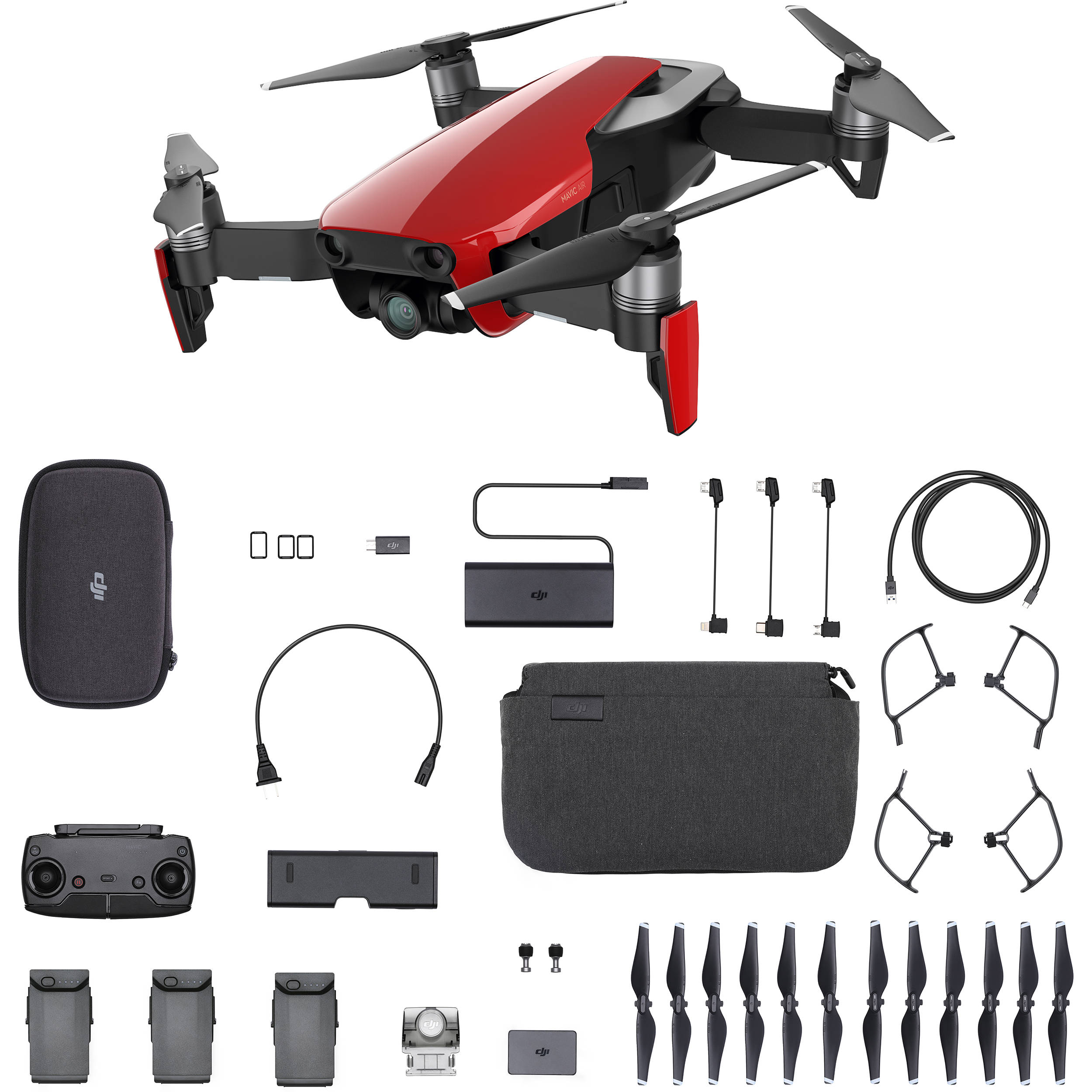 dji mavic air fly more combo flame red cp b h