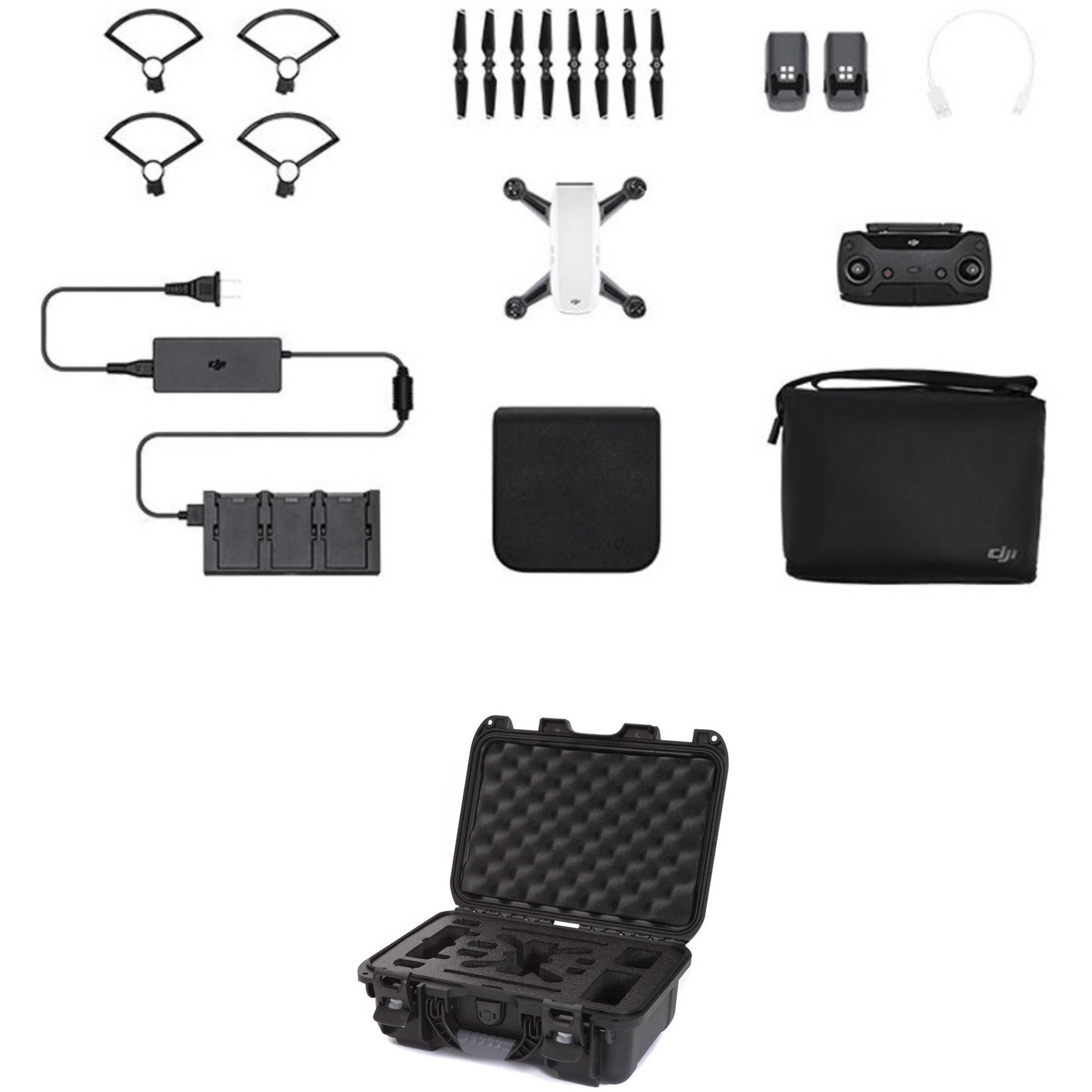 DJI Spark Quadcopter Fly More Combo Kit With Hard Case Alpine White Black