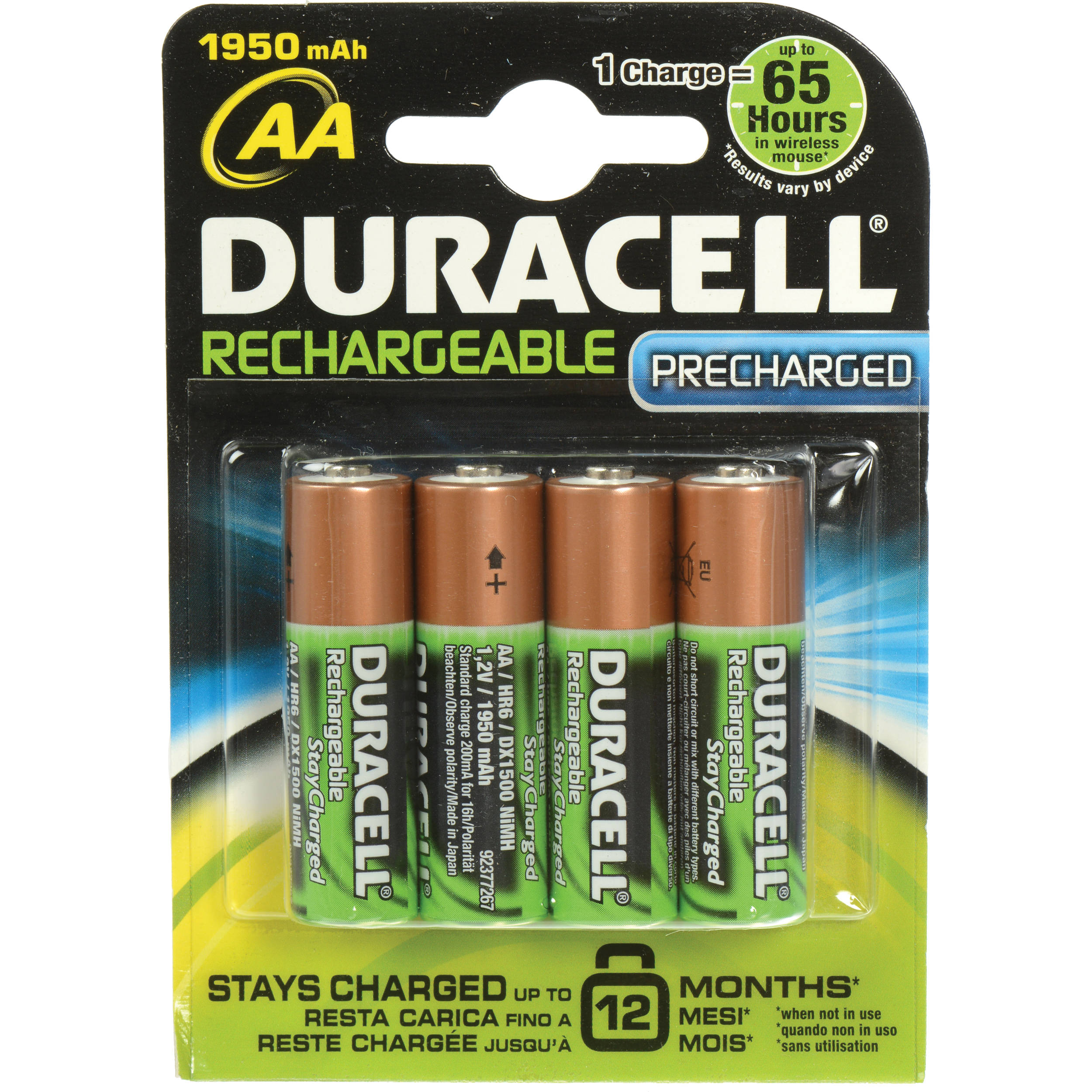 855f6491691 Duracell StayCharged AA NiMH Rechargeable Batteries (4-Pack, 1.2V, 1950mAh)