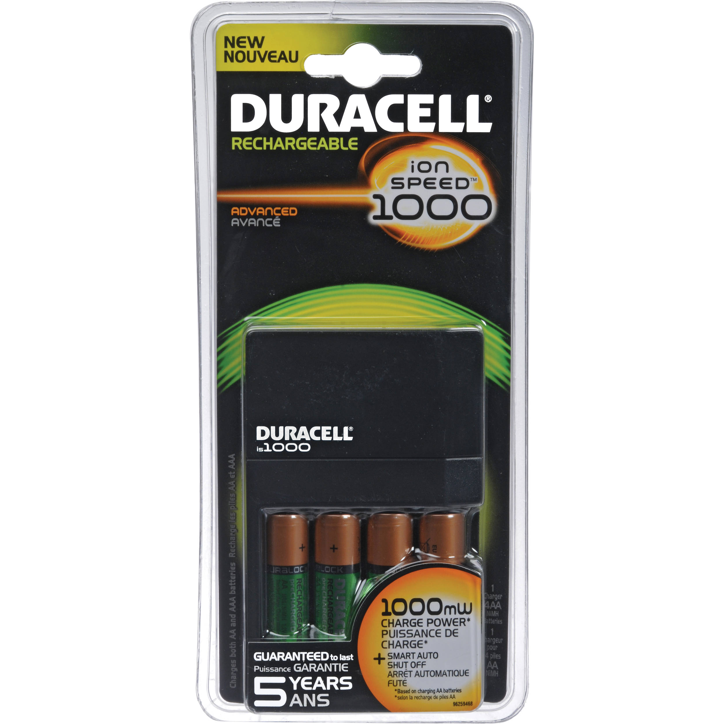 duracell ion speed 1000 battery charger with 4 aa nimh. Black Bedroom Furniture Sets. Home Design Ideas