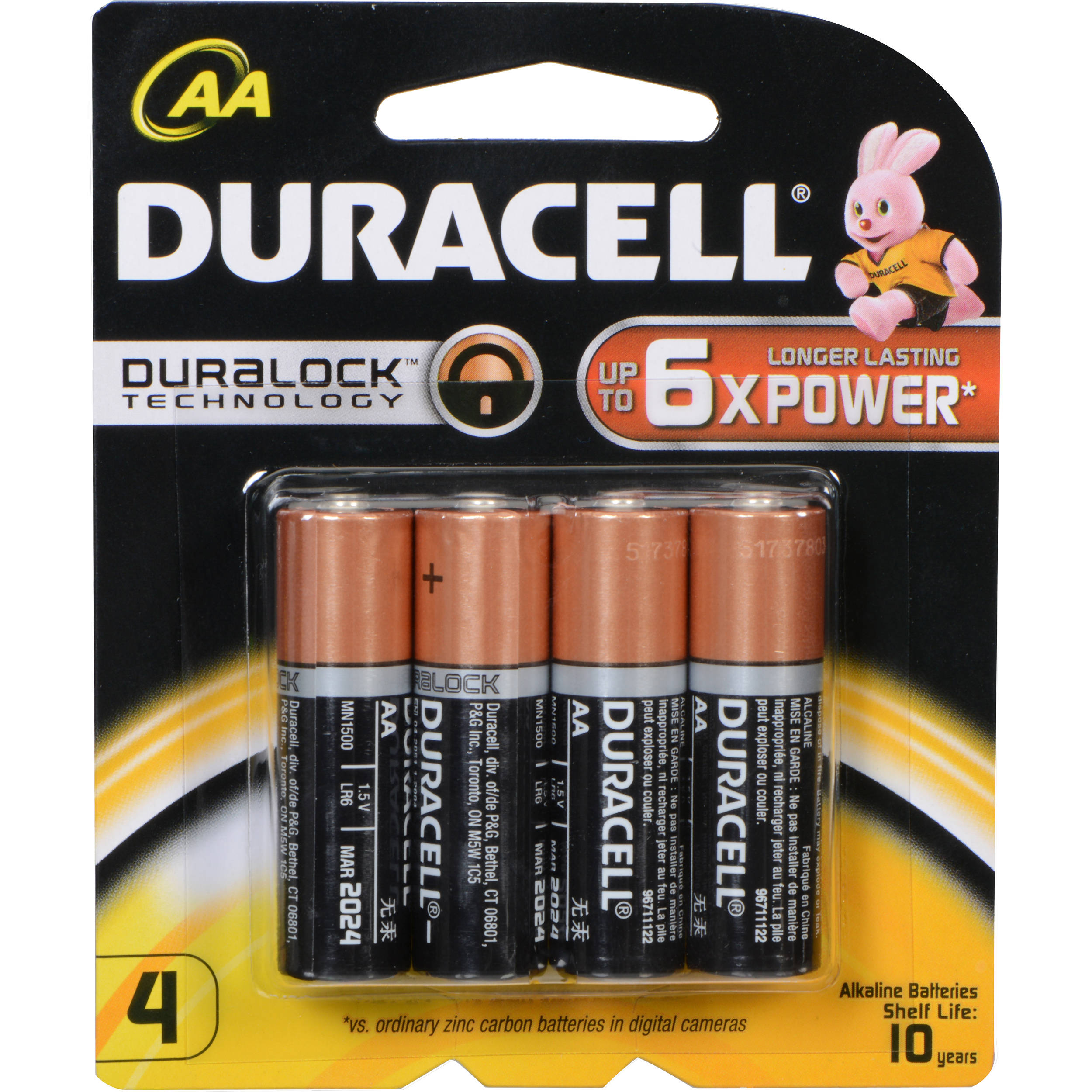duracell duracell 1 5v aa coppertop alkaline batteries mn15004. Black Bedroom Furniture Sets. Home Design Ideas