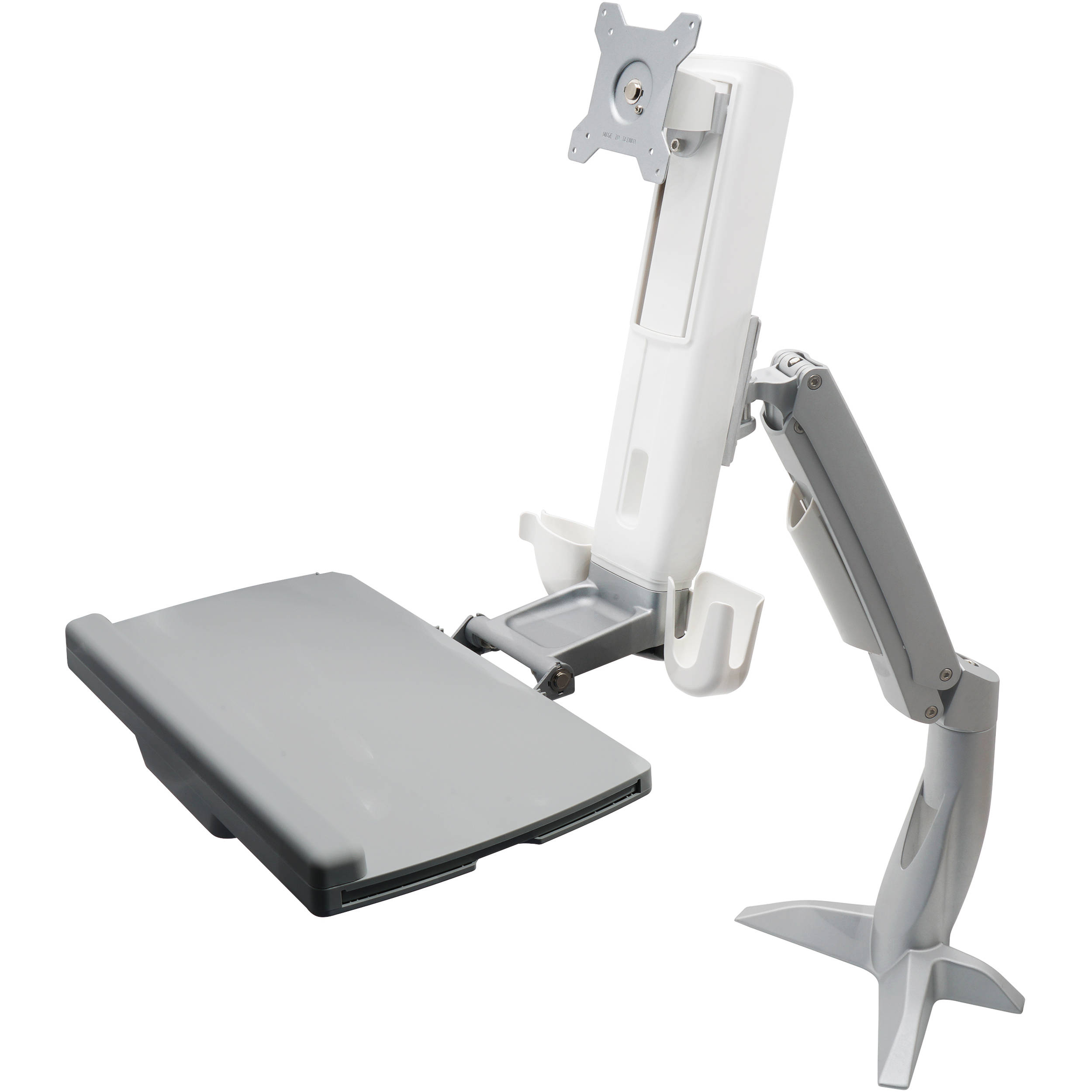 Dyconn Desk Mounted Sit/Stand Workstation Mount With Foldable Keyboard Tray  And Retractable Mouse