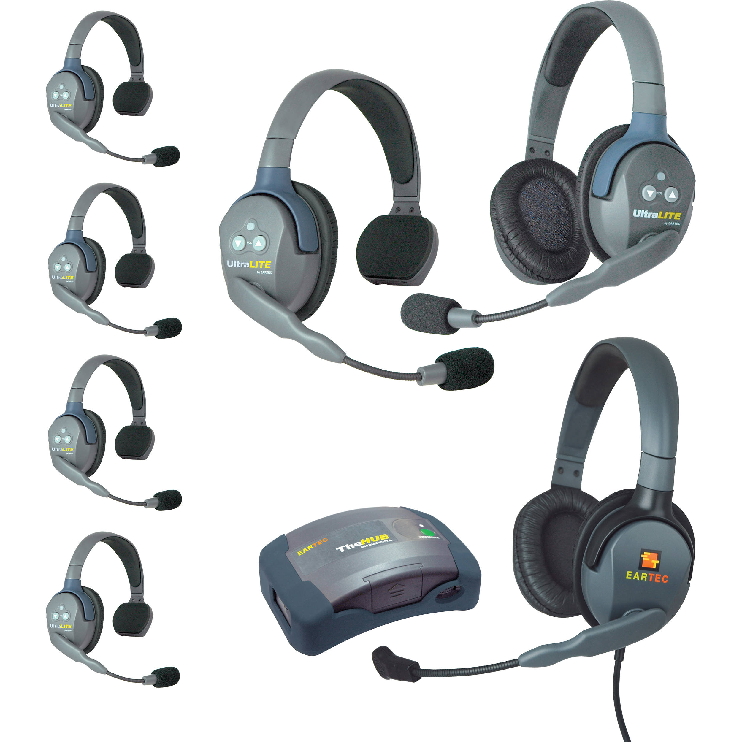 Eartec Hub751mxd Ultralite 7 Person Hub Intercom Bh Home Systems Wiring Drawings System With Max 4g Double Headset Usa
