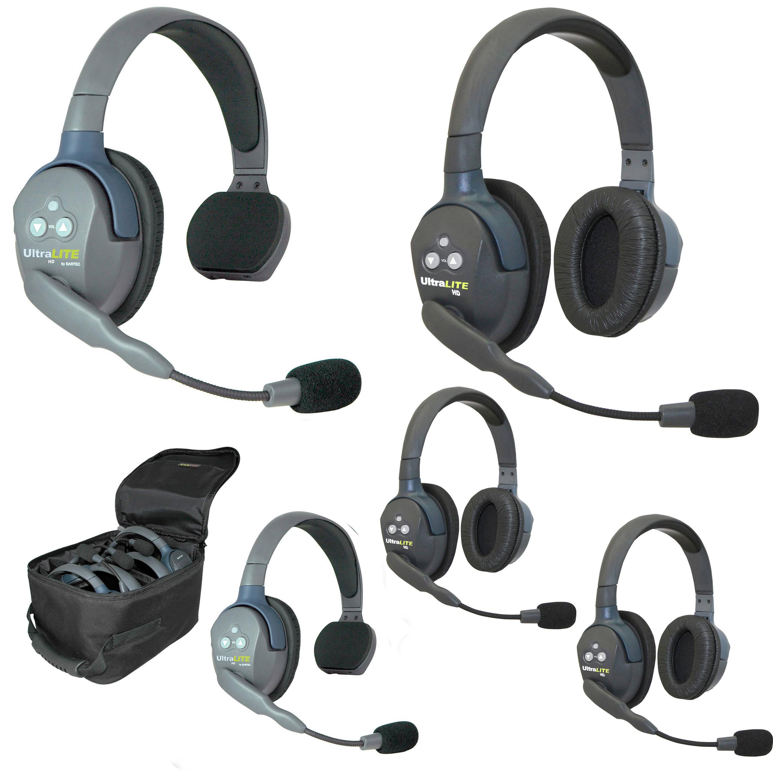 2f912e60c7b Eartec UL523 5-Person Full-Duplex Wireless Intercom with 2 UltraLITE  Single-Ear & 3 UltraLITE Dual-Ear Headsets