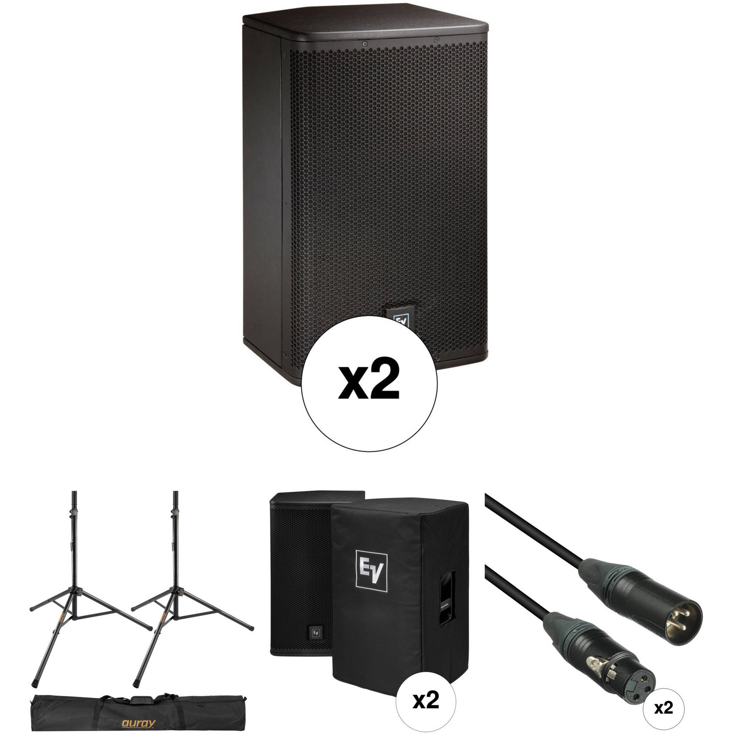 speakers with stands. electro-voice elx112p kit with 2x speakers, stands, covers, cables, and speakers stands
