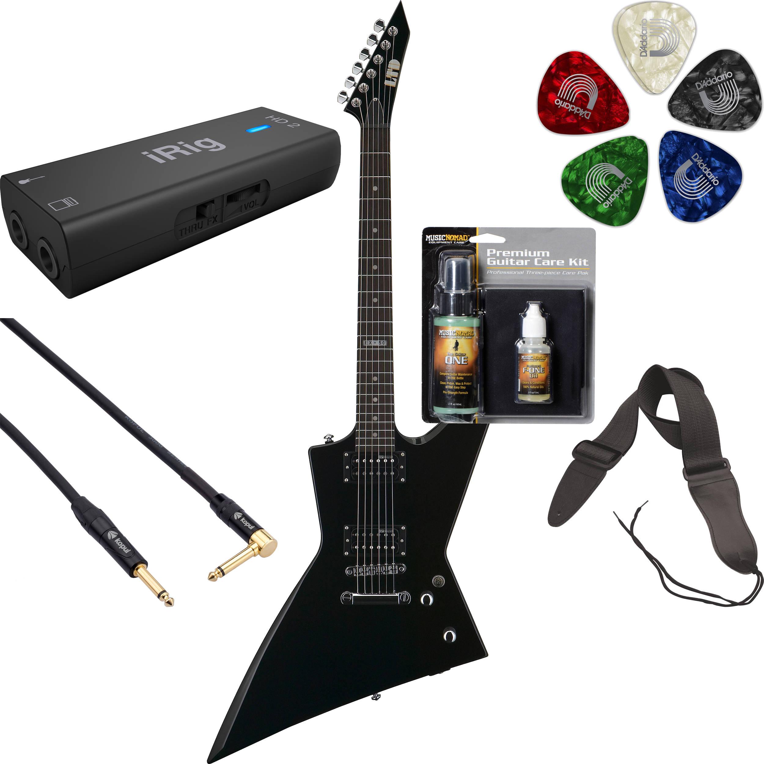 esp ltd ex 50 electric guitar home recording starter kit black. Black Bedroom Furniture Sets. Home Design Ideas