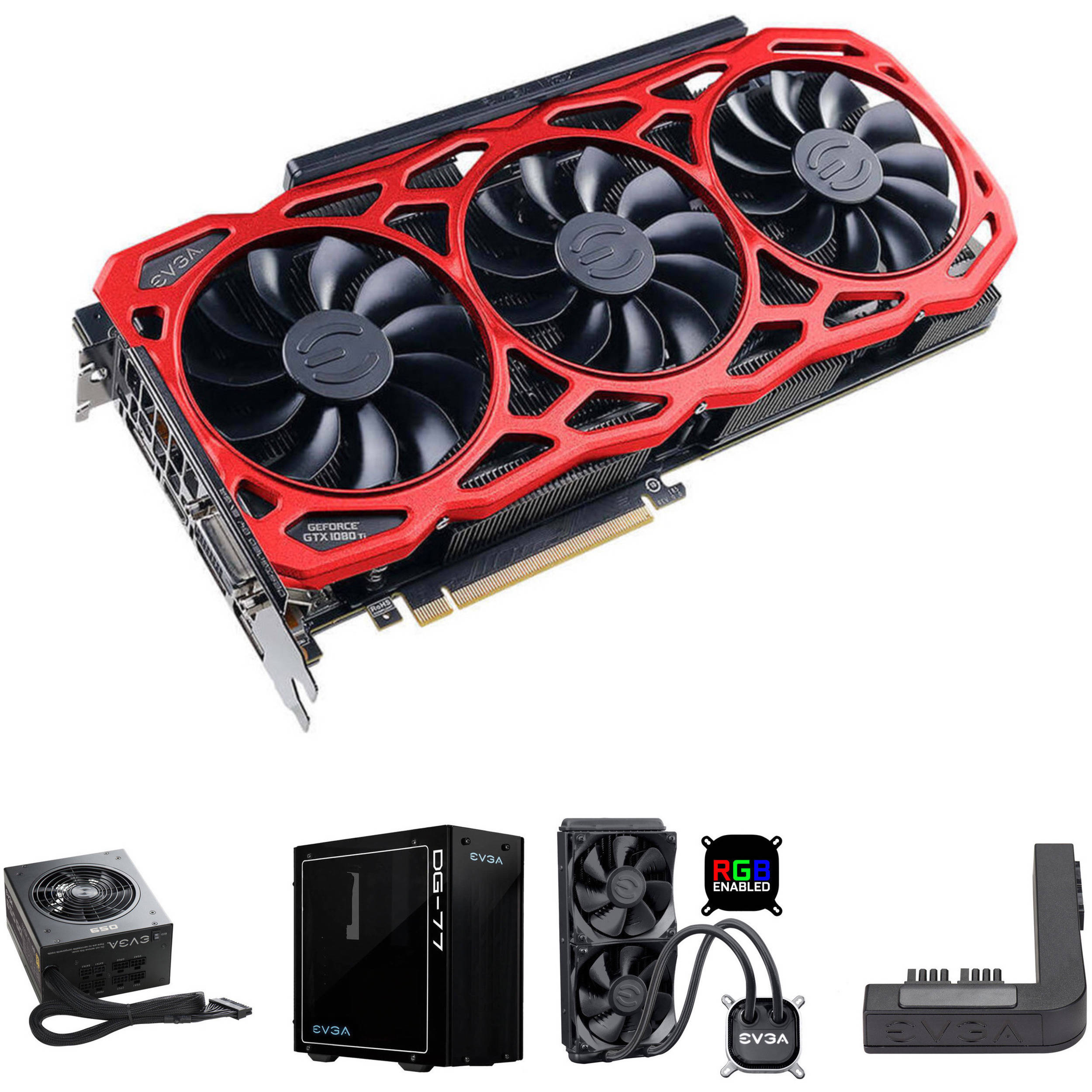 Evga Geforce Gtx 1080 Ti Ftw3 Elite Gaming Red Graphics Card Kit