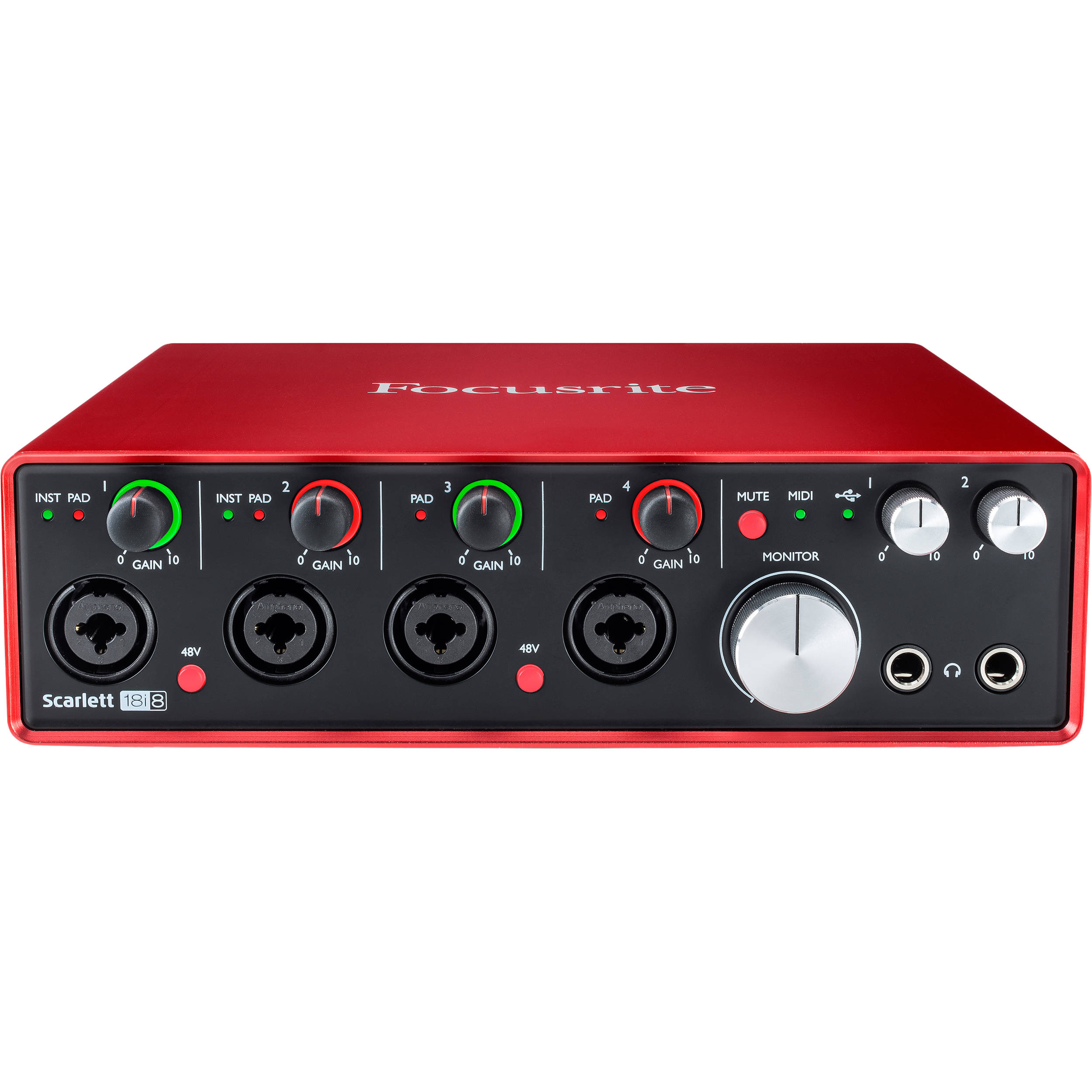 focusrite scarlett 18i8 usb 2 0 audio scarlett 18i8 2nd gen b h. Black Bedroom Furniture Sets. Home Design Ideas