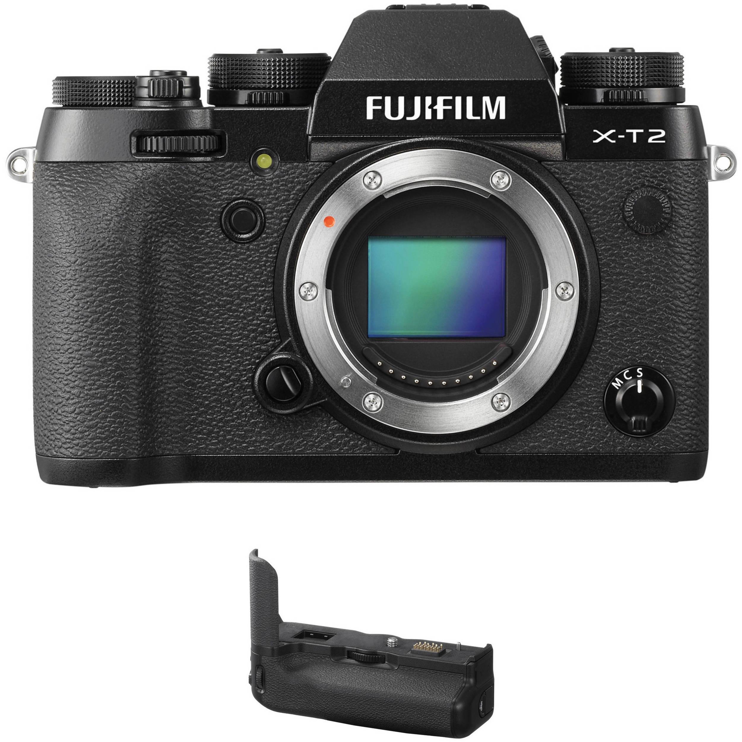 Camera Fujifilm Digital Cameras fujifilm mirrorless digital cameras bh photo video x t2 camera body with battery grip kit black
