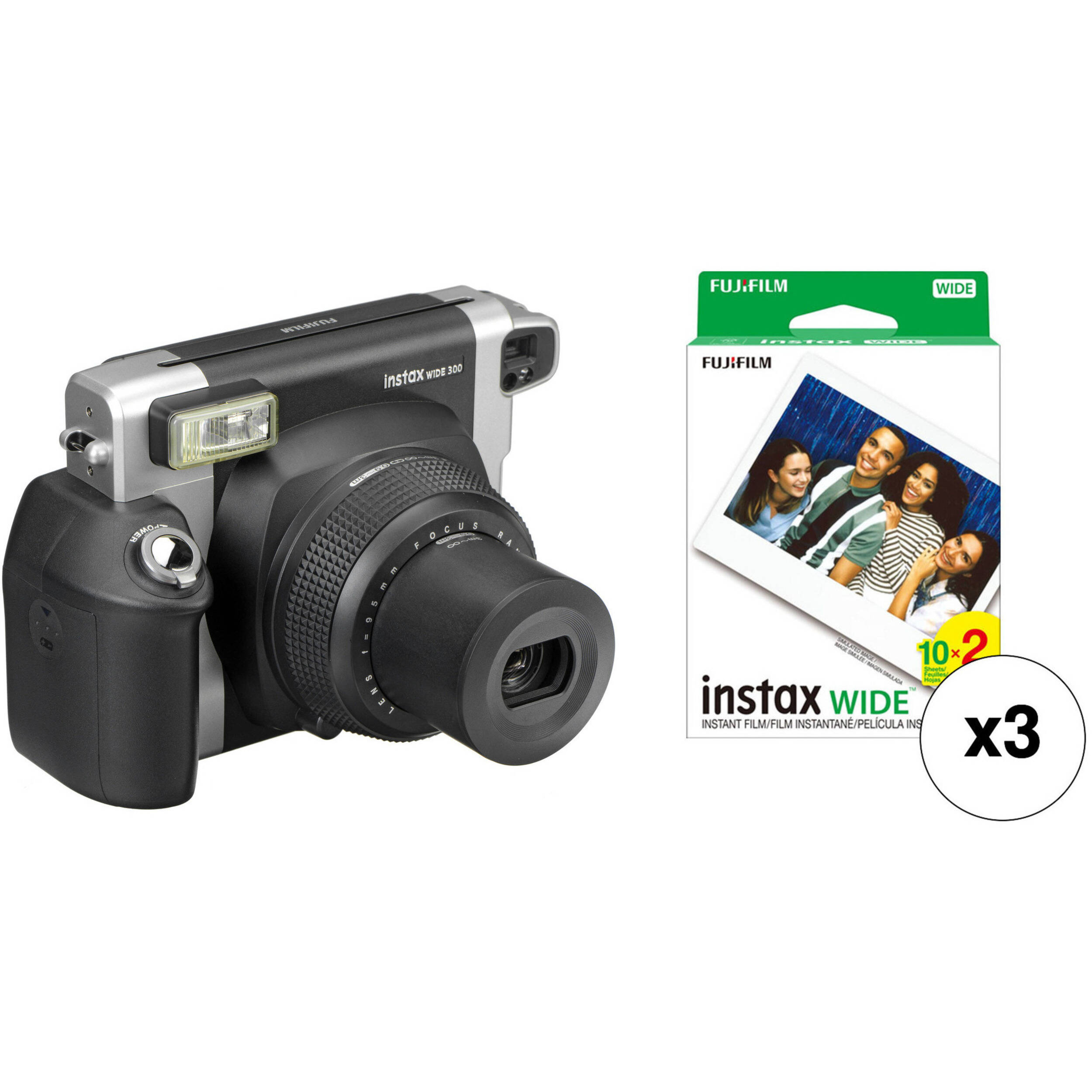 fujifilm instax wide 300 instant film camera with three twin b h. Black Bedroom Furniture Sets. Home Design Ideas