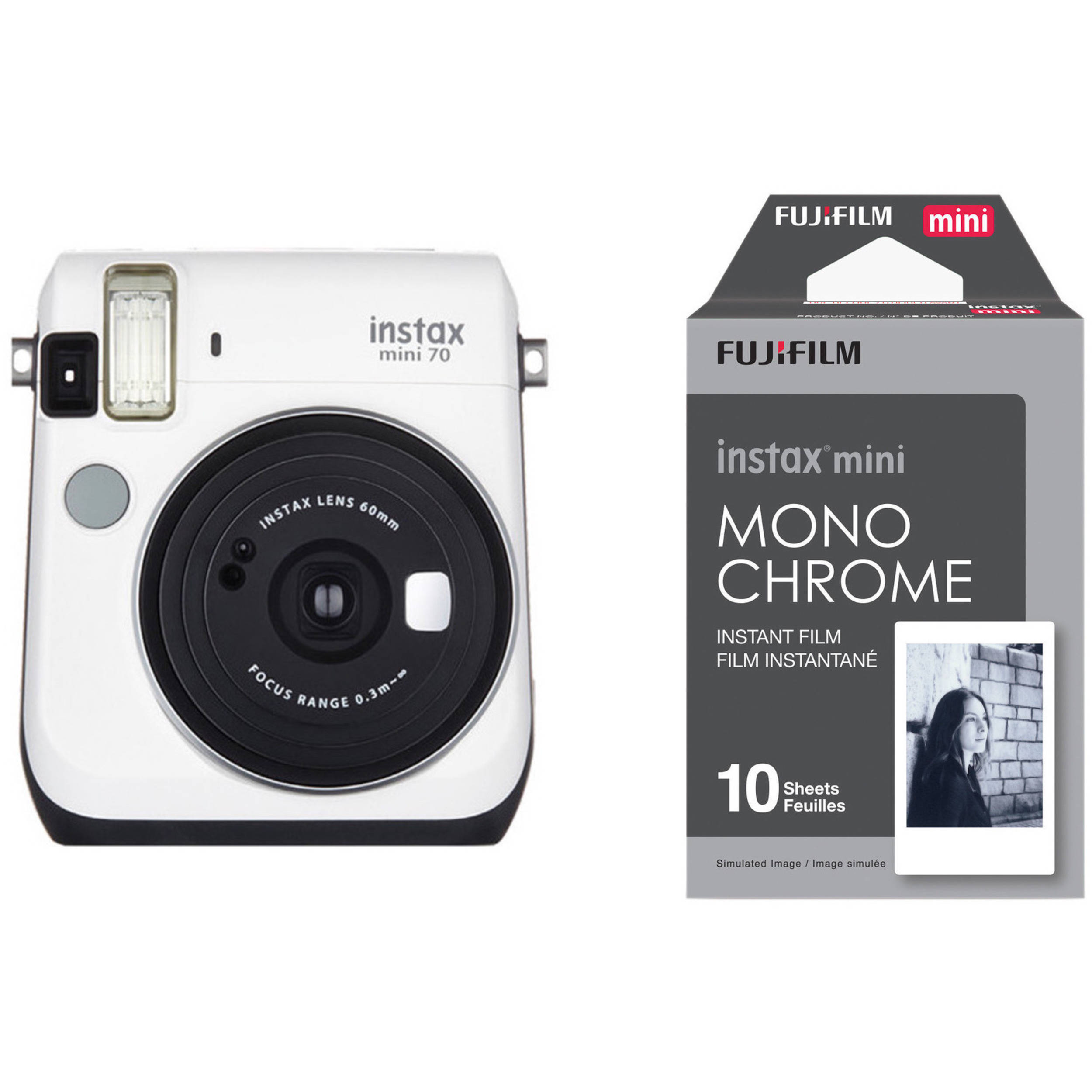 fujifilm instax mini 70 instant film camera with. Black Bedroom Furniture Sets. Home Design Ideas