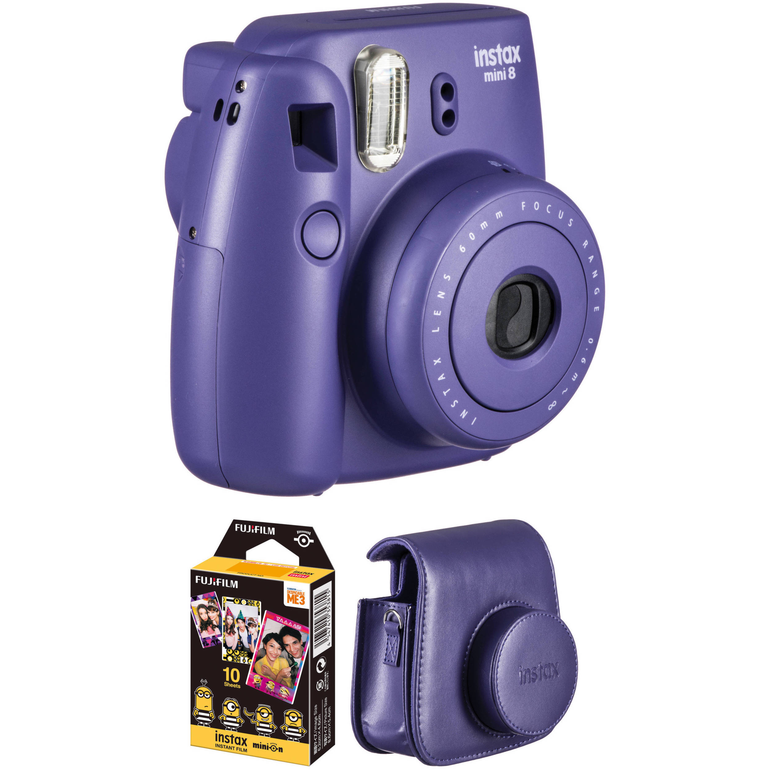 Fujifilm instax mini 8 Instant Film Camera Basic Kit (Grape) B&H