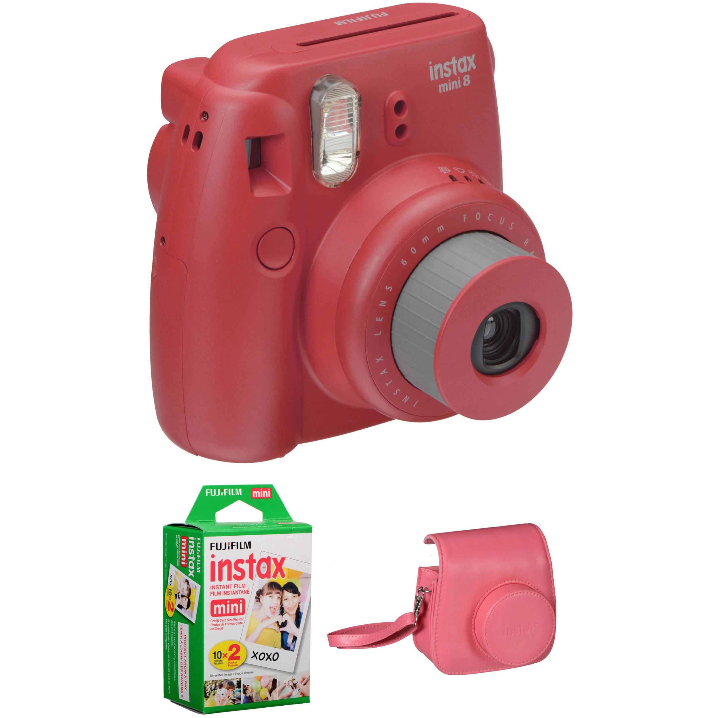 fujifilm instax mini 8 instant film camera basic kit raspberry. Black Bedroom Furniture Sets. Home Design Ideas