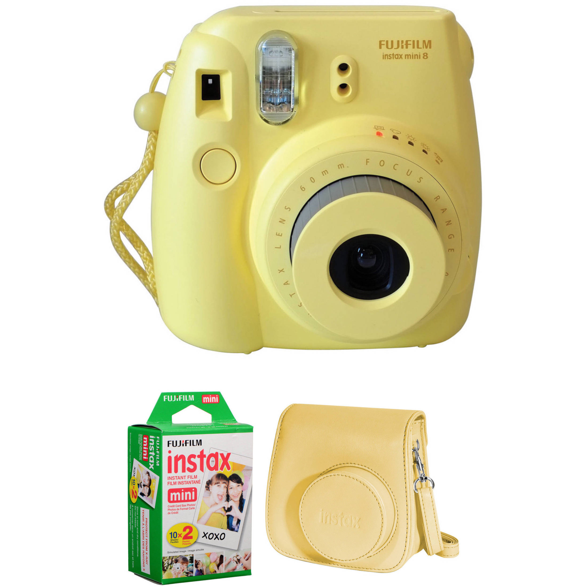 fujifilm instax mini 8 instant film camera basic kit yellow. Black Bedroom Furniture Sets. Home Design Ideas