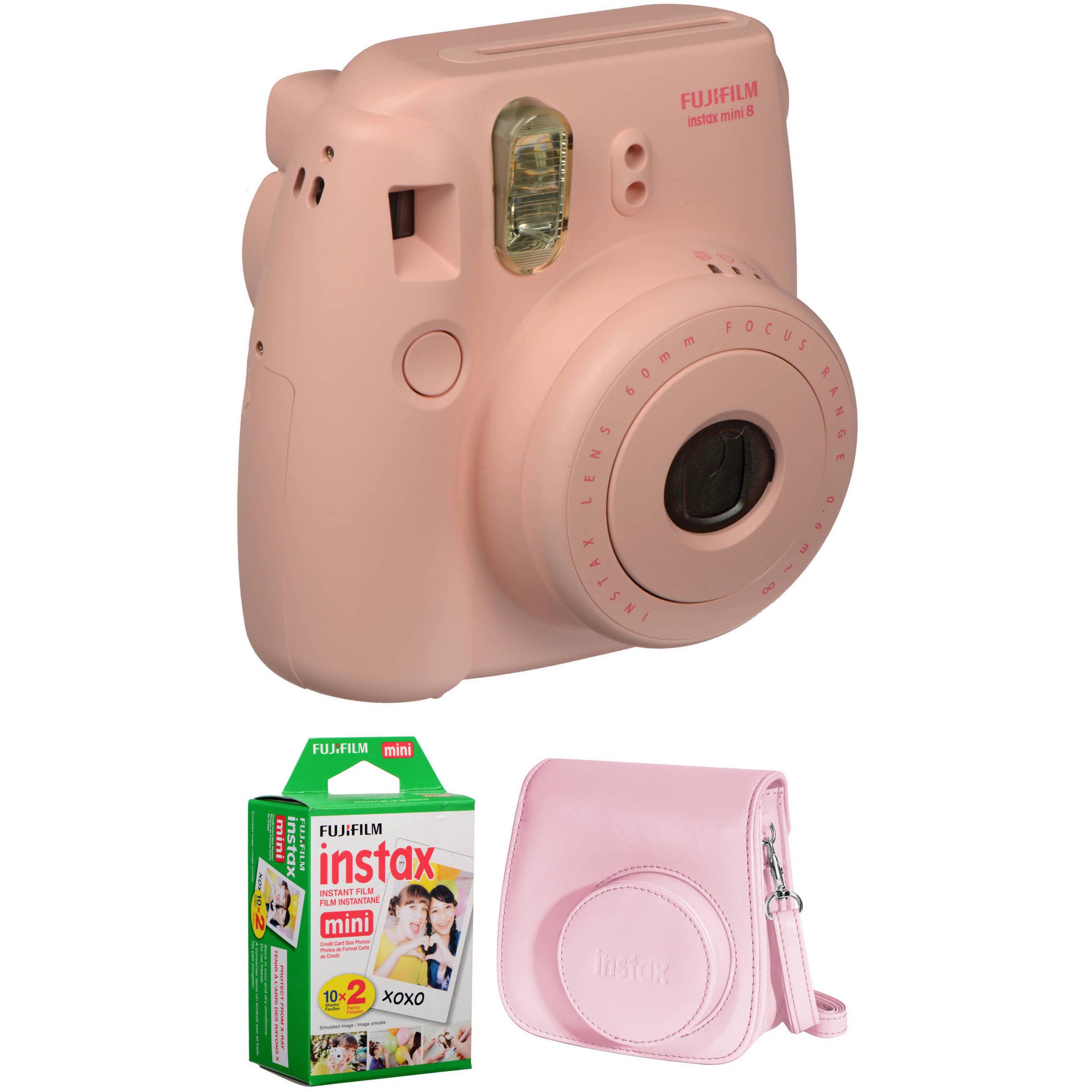 fujifilm instax mini 8 instant film camera basic kit pink b h. Black Bedroom Furniture Sets. Home Design Ideas