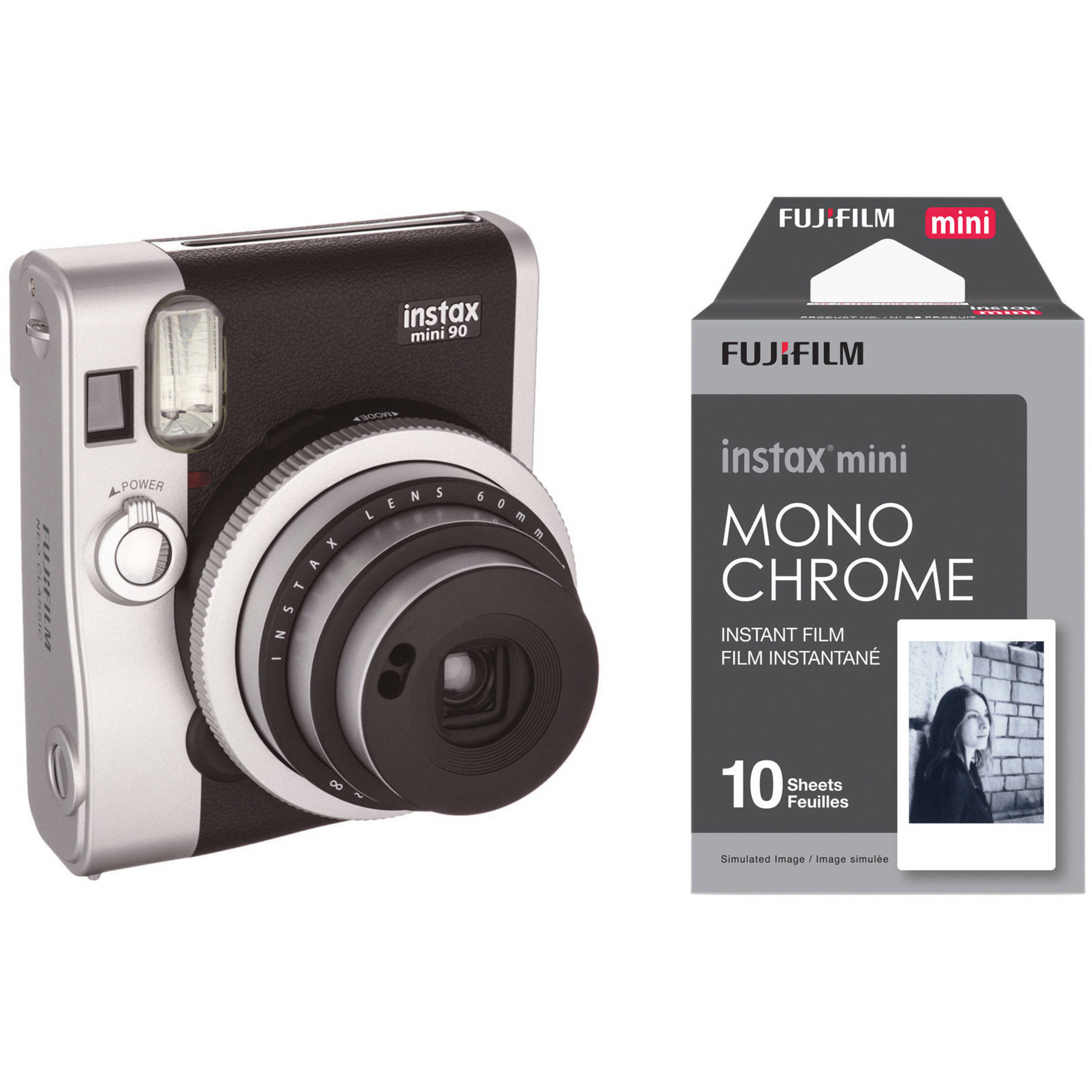 fujifilm instax mini 90 neo classic instant film camera b h. Black Bedroom Furniture Sets. Home Design Ideas
