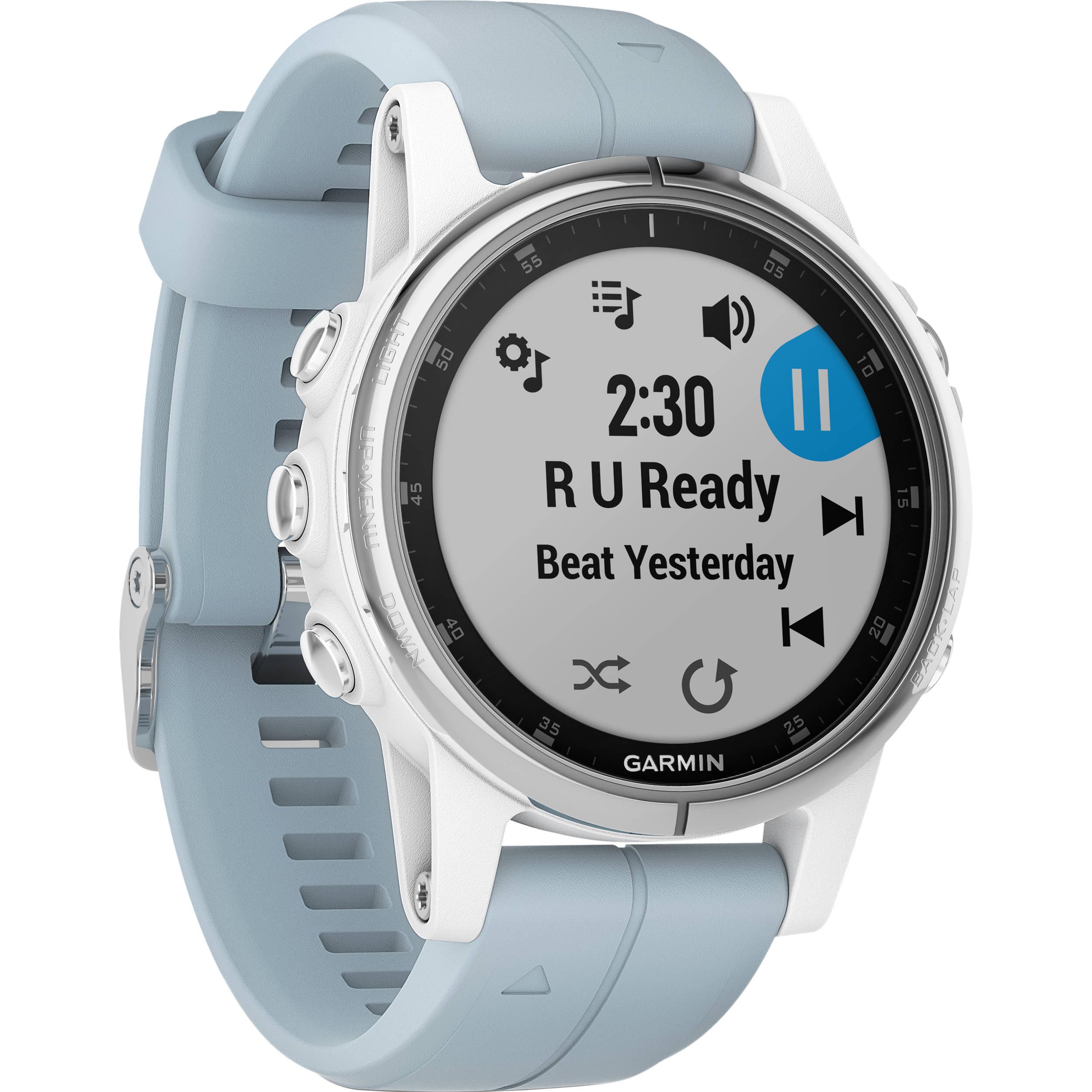 c34e790768bc Garmin fenix 5S Plus Multi-Sport Training GPS Watch (42mm, White with Sea  Foam Band)