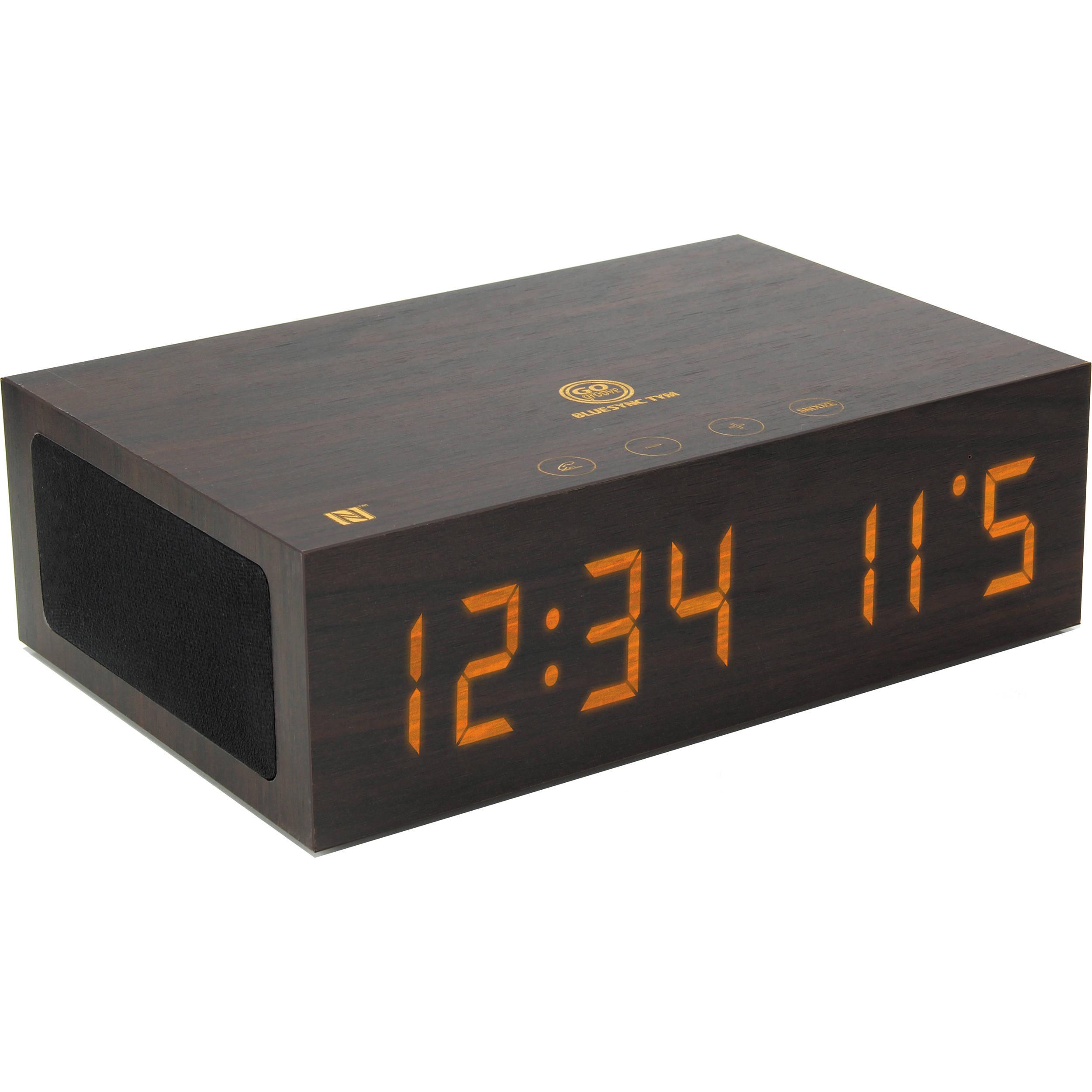 7f24c704988 GOgroove BlueSYNC TYM Bluetooth Speaker with Integrated Alarm Clock (Dark  Wood)