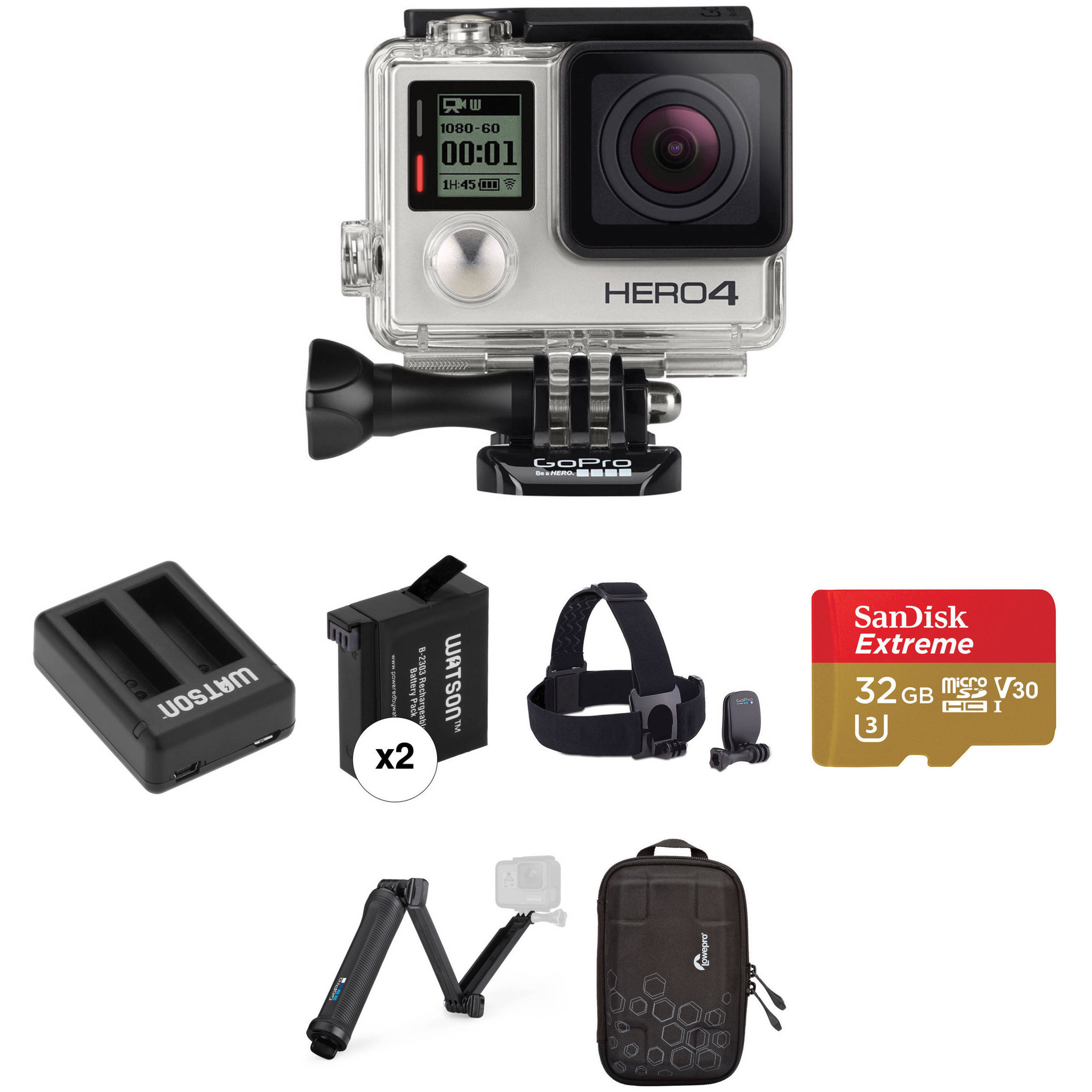 gopro gopro hero4 silver dual battery charger and mount kit