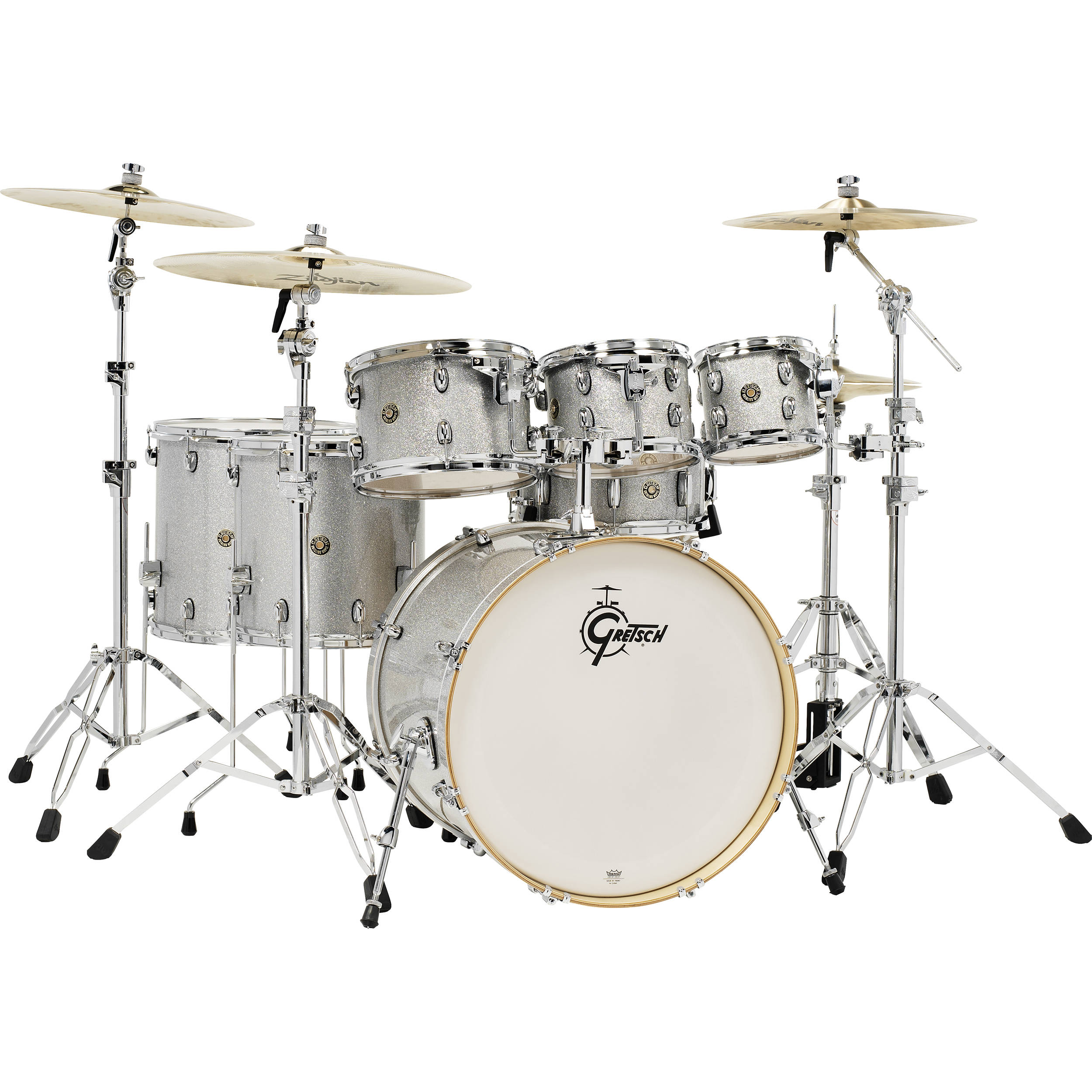 Gretsch Drums Catalina Maple Series 7 Piece Drum Kit With 22 Bass Silver Sparkle