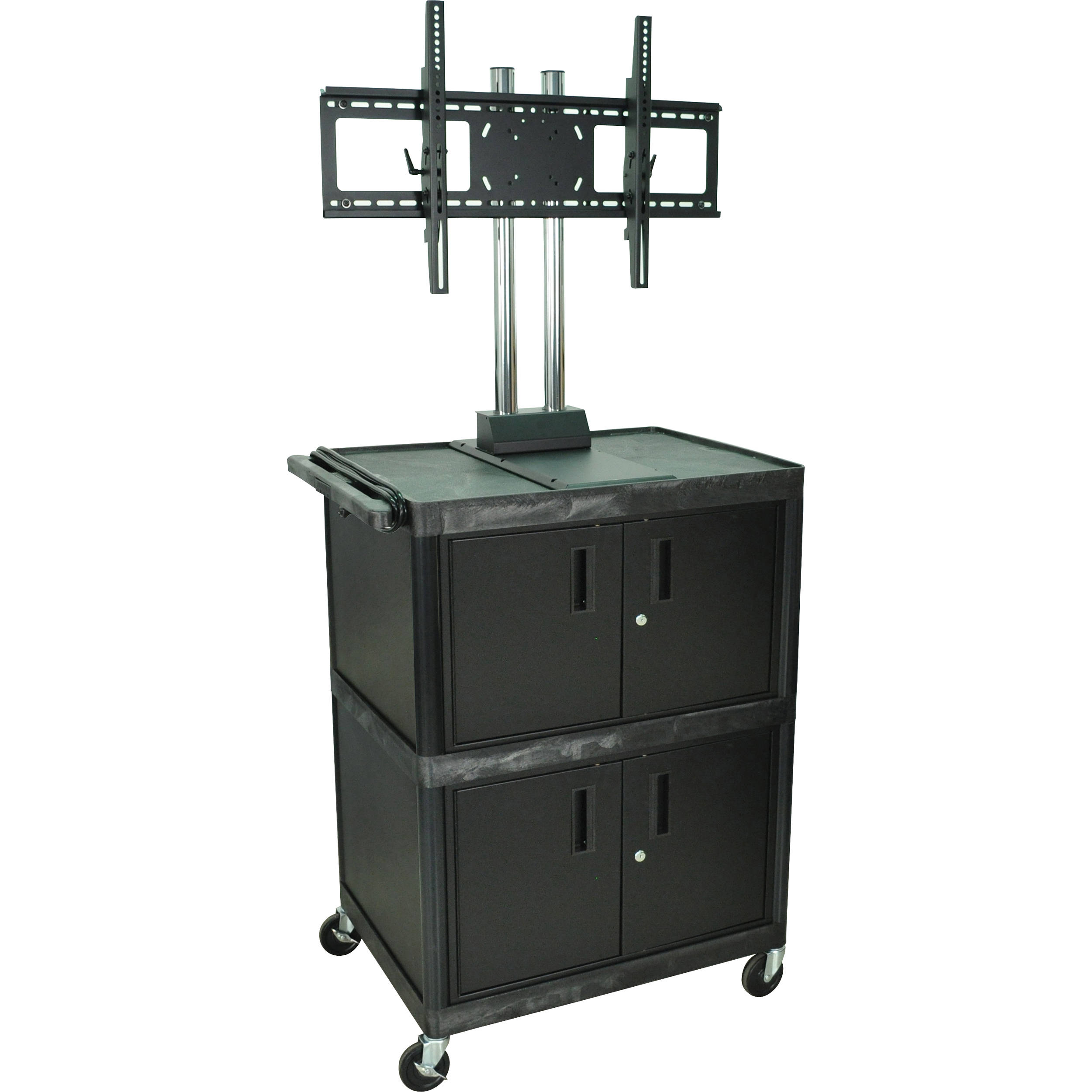 Luxor Mobile Cabinet Cart With Universal LCD TV Mount U0026 2 Cabinets (Black)